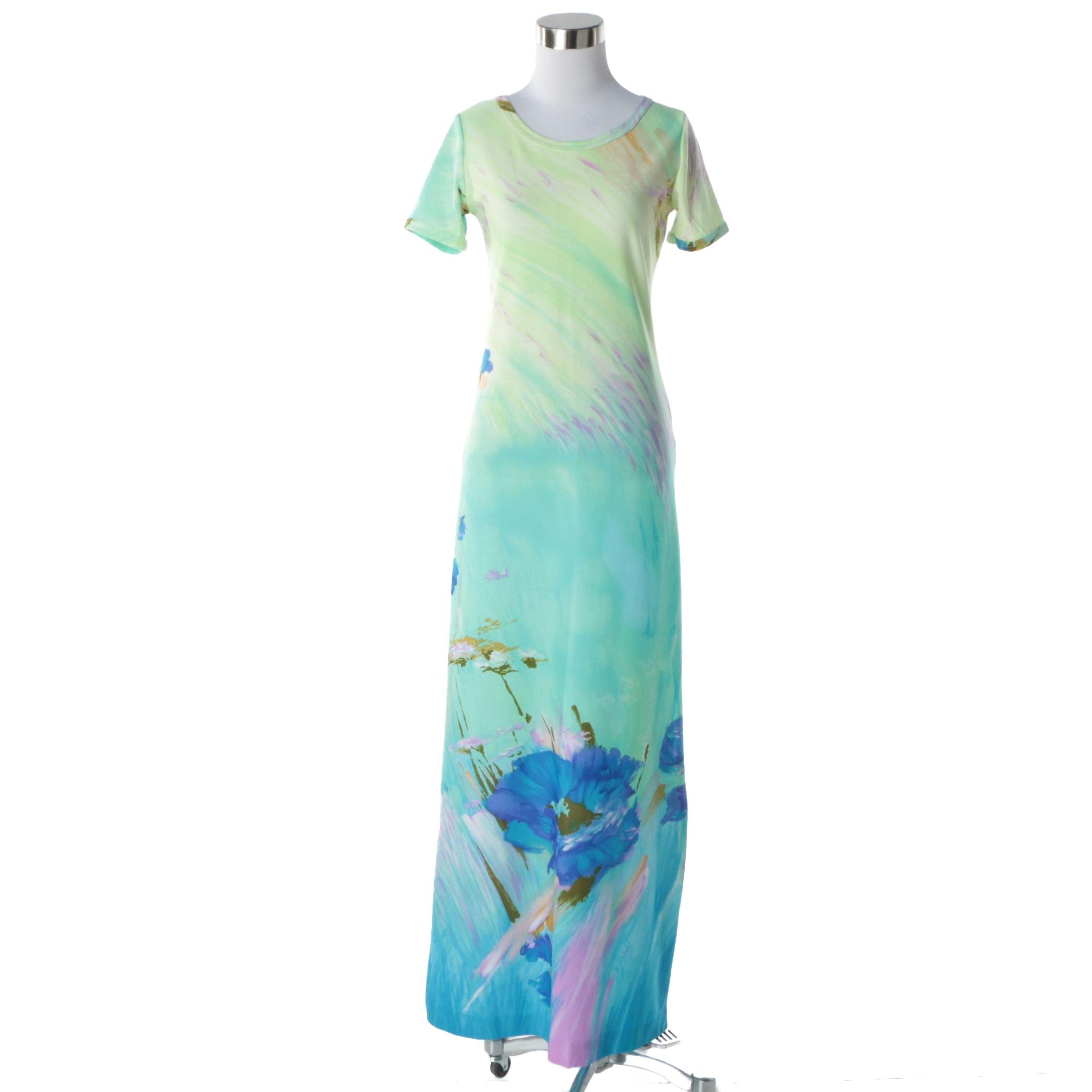 Women's Circa 1970s Vintage Lanvin Pastel Floral Print Maxi Dress