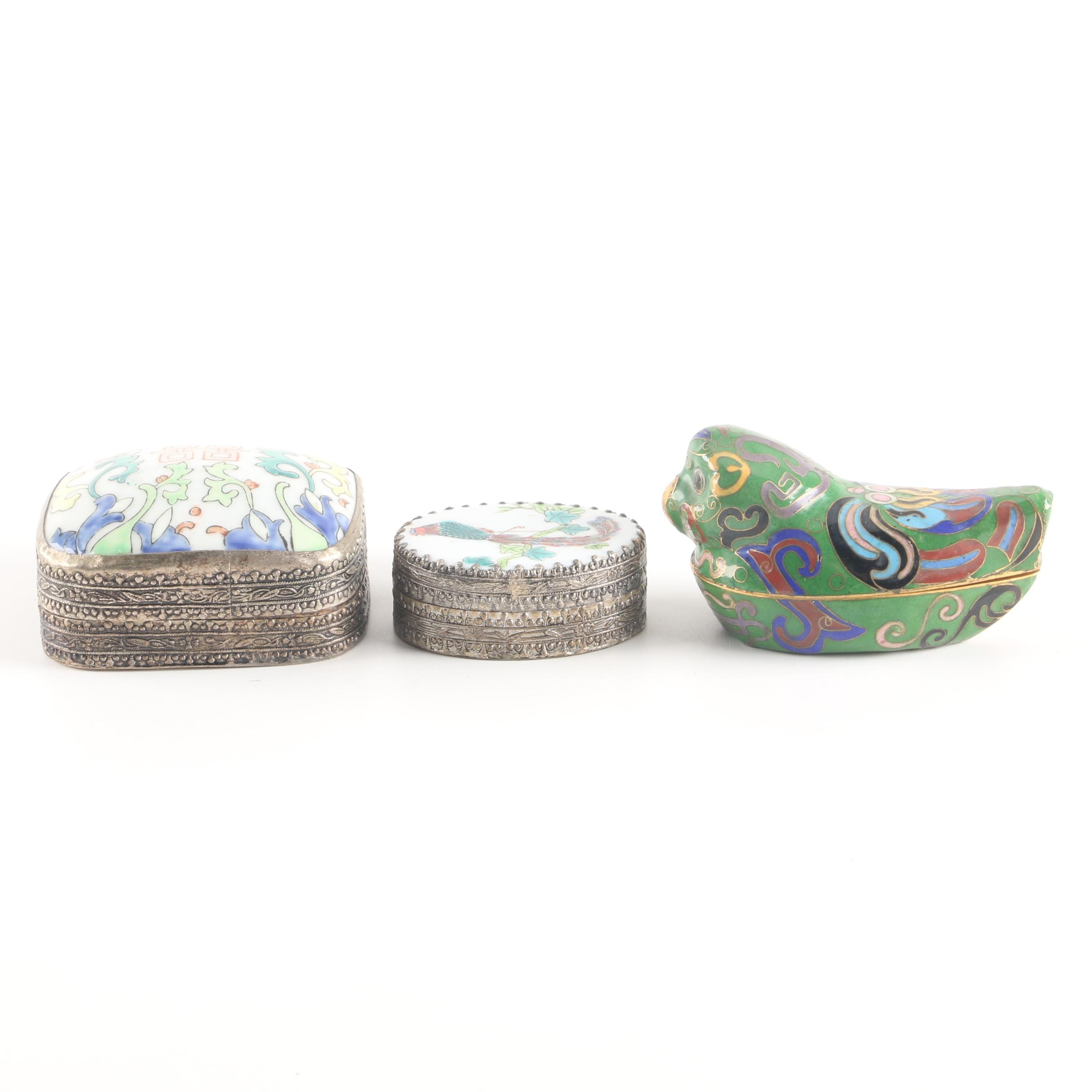 Chinese Inspired Enameled Trinket Boxes