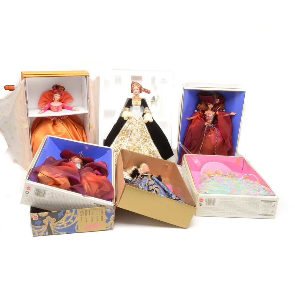Six  Contemporary Boxed Barbie Dolls