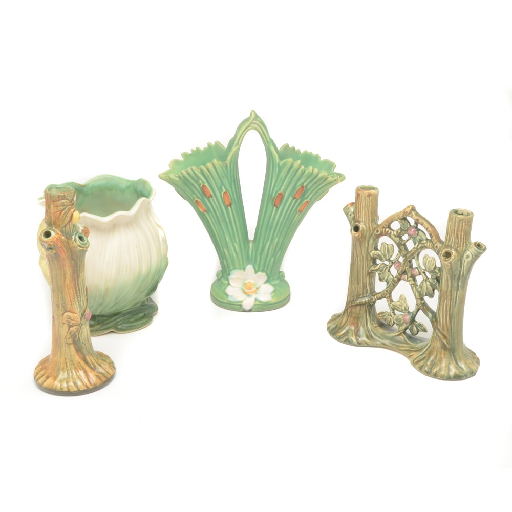 """Weller """"Woodraft"""", """"Roba"""" and """"Ardsley"""" Pottery Vases"""