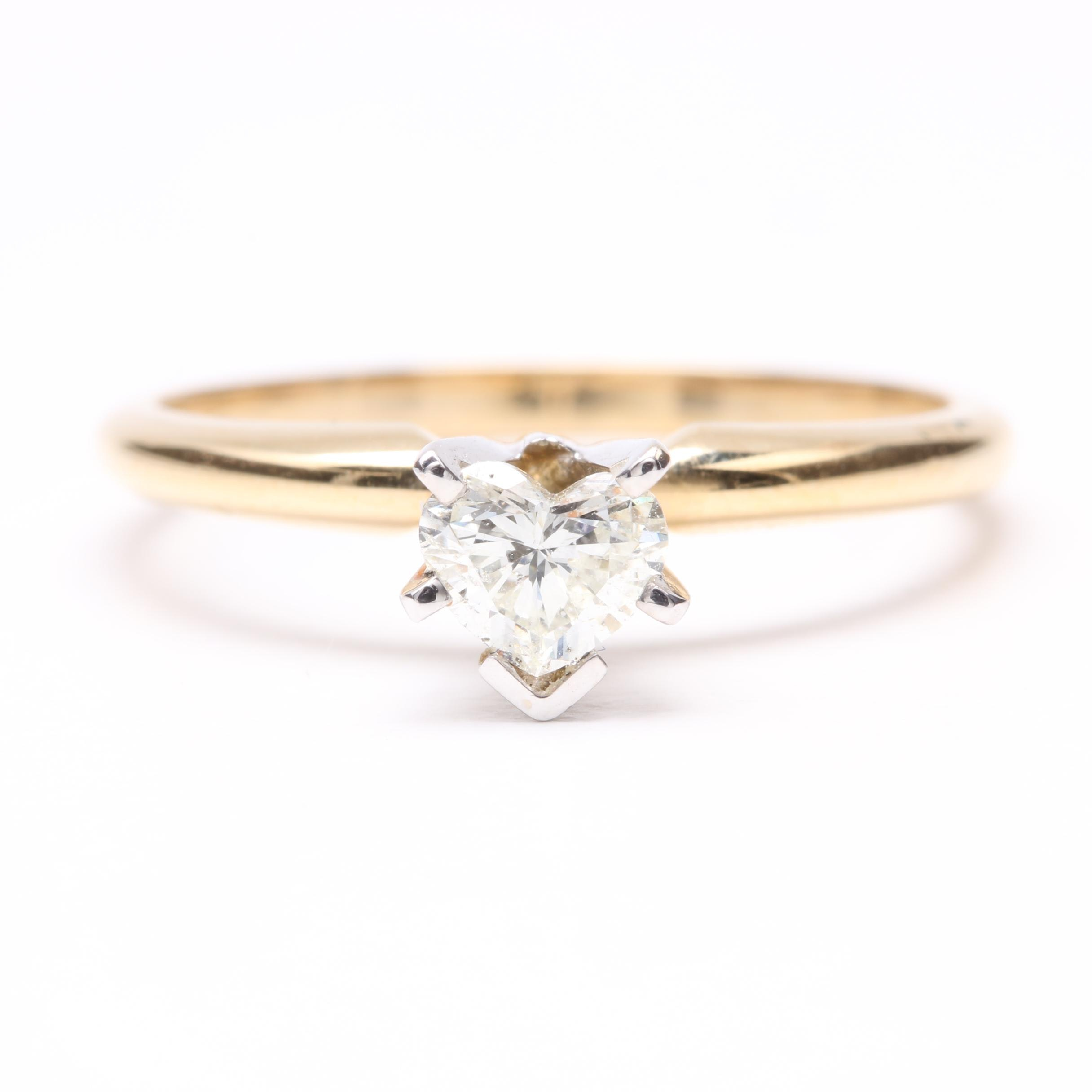 14K Yellow Gold Diamond Solitaire Heart Ring