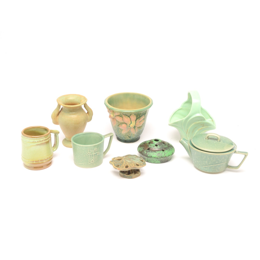 Eclectic Art Pottery Collection Including Imperial, McCoy, Weller and Roseville