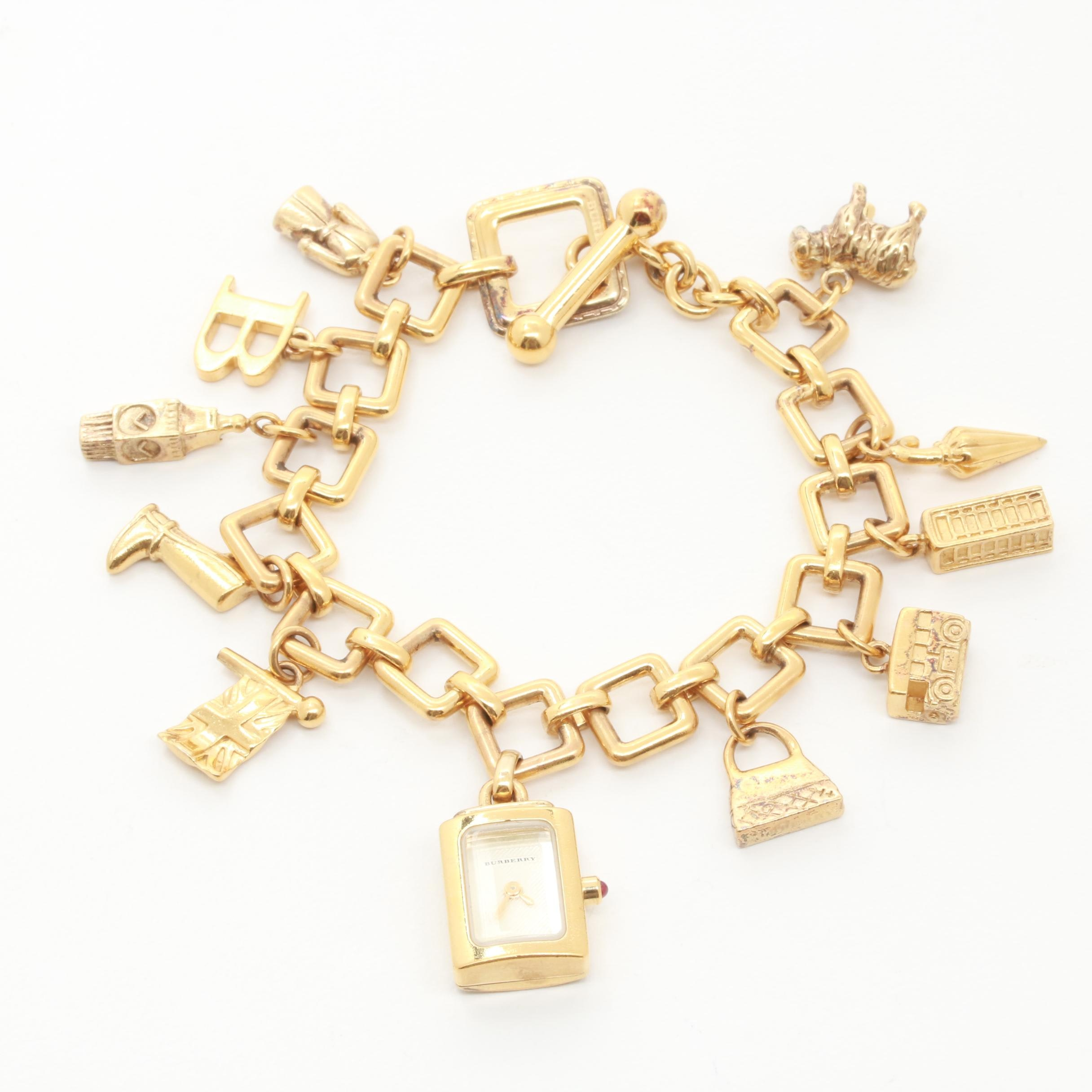 Burberry Gold Wash on Sterling Silver Charm Bracelet