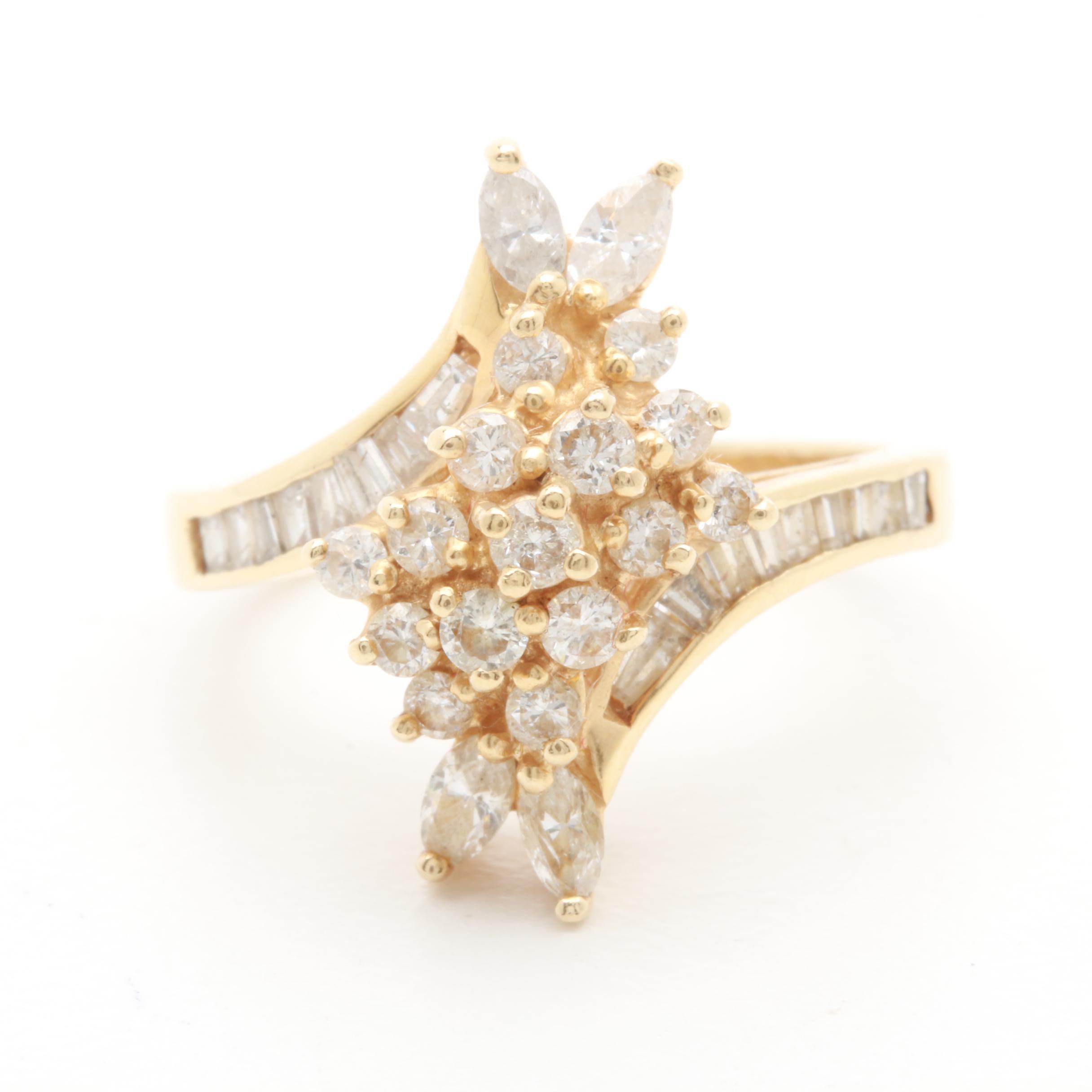 14K Yellow Gold 1.06 CTW Diamond Bypass Ring