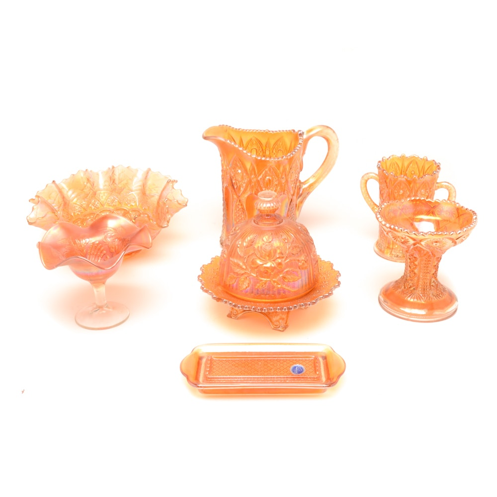 Iridescent Marigold Carnival Glass Collection