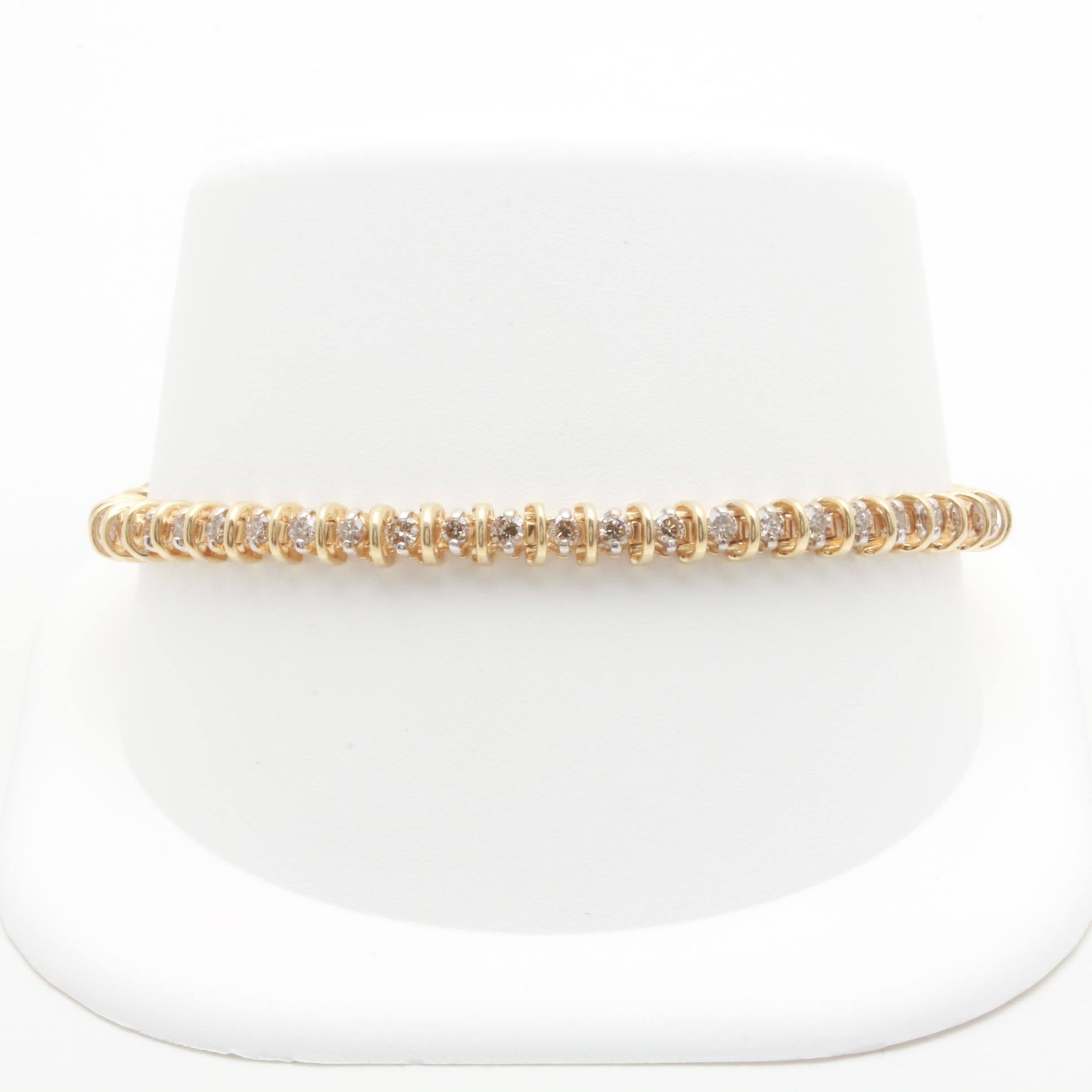 14K Yellow Gold 2.37 CTW Diamond Bracelet