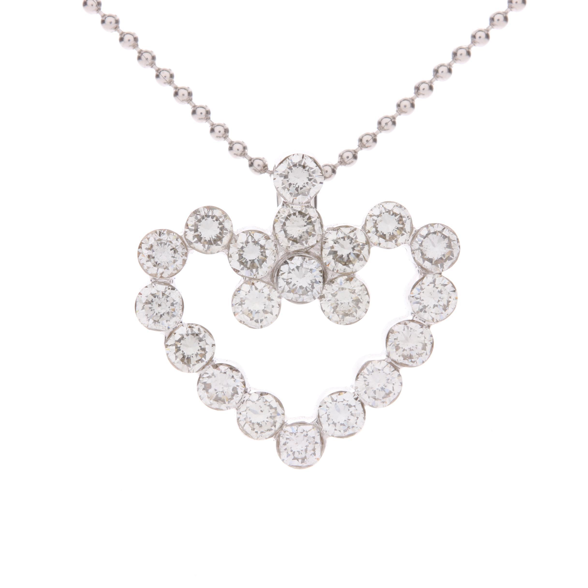 14K White Gold 1.25 CTW Diamond Heart Pendant Necklace