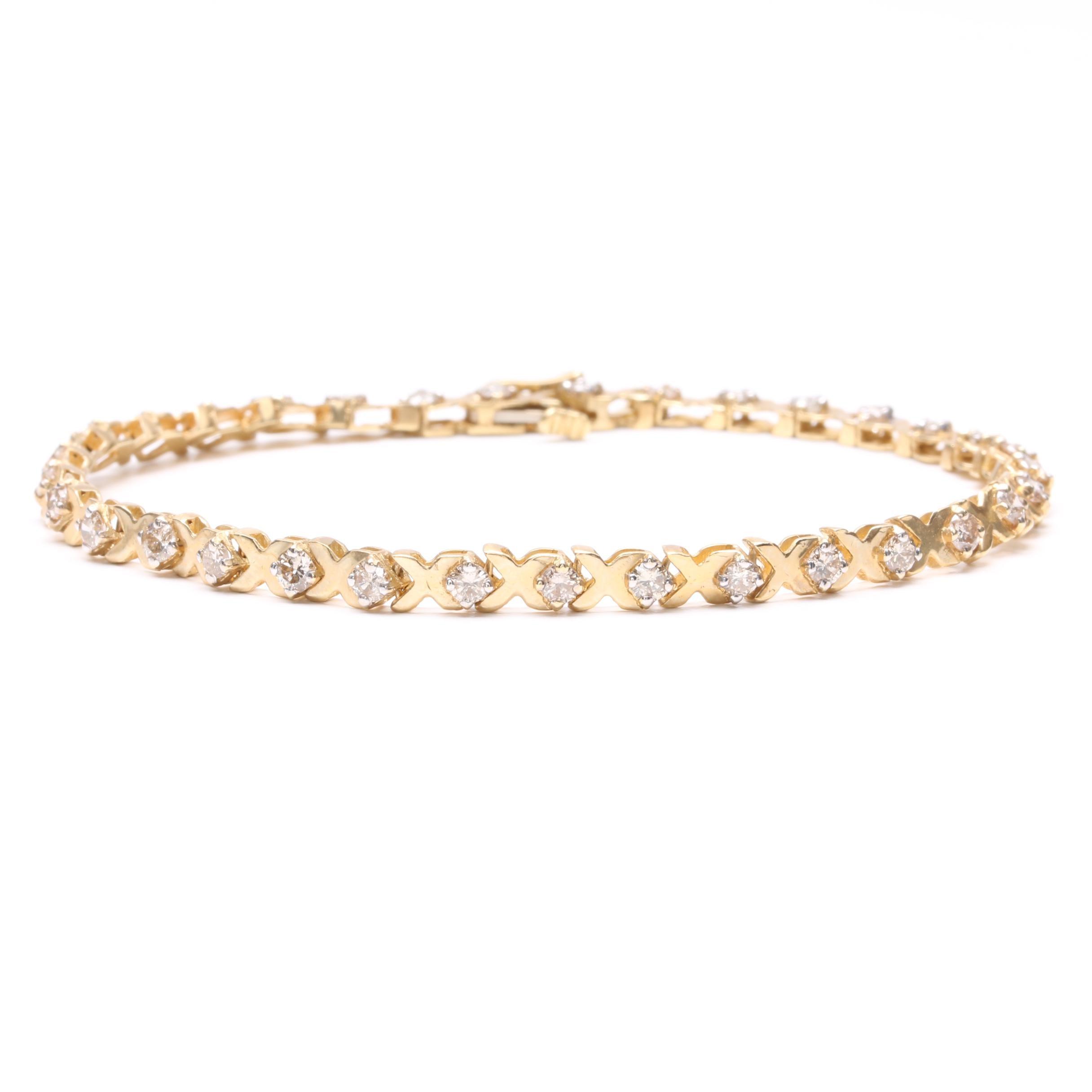 14K Yellow Gold 1.98 ctw Diamond Tennis Bracelet