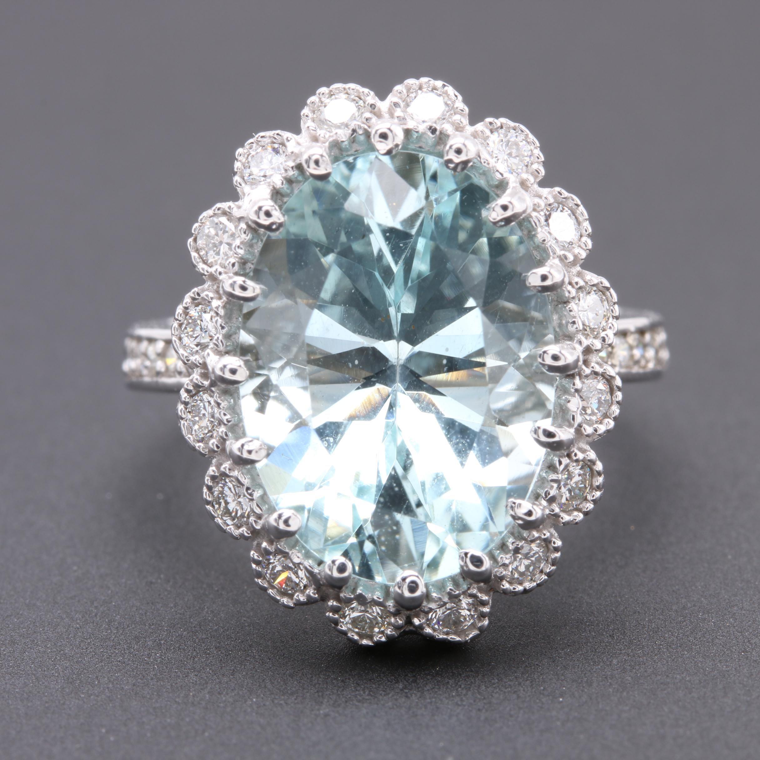 14K White Gold 6.51 CT Aquamarine and Diamond Ring