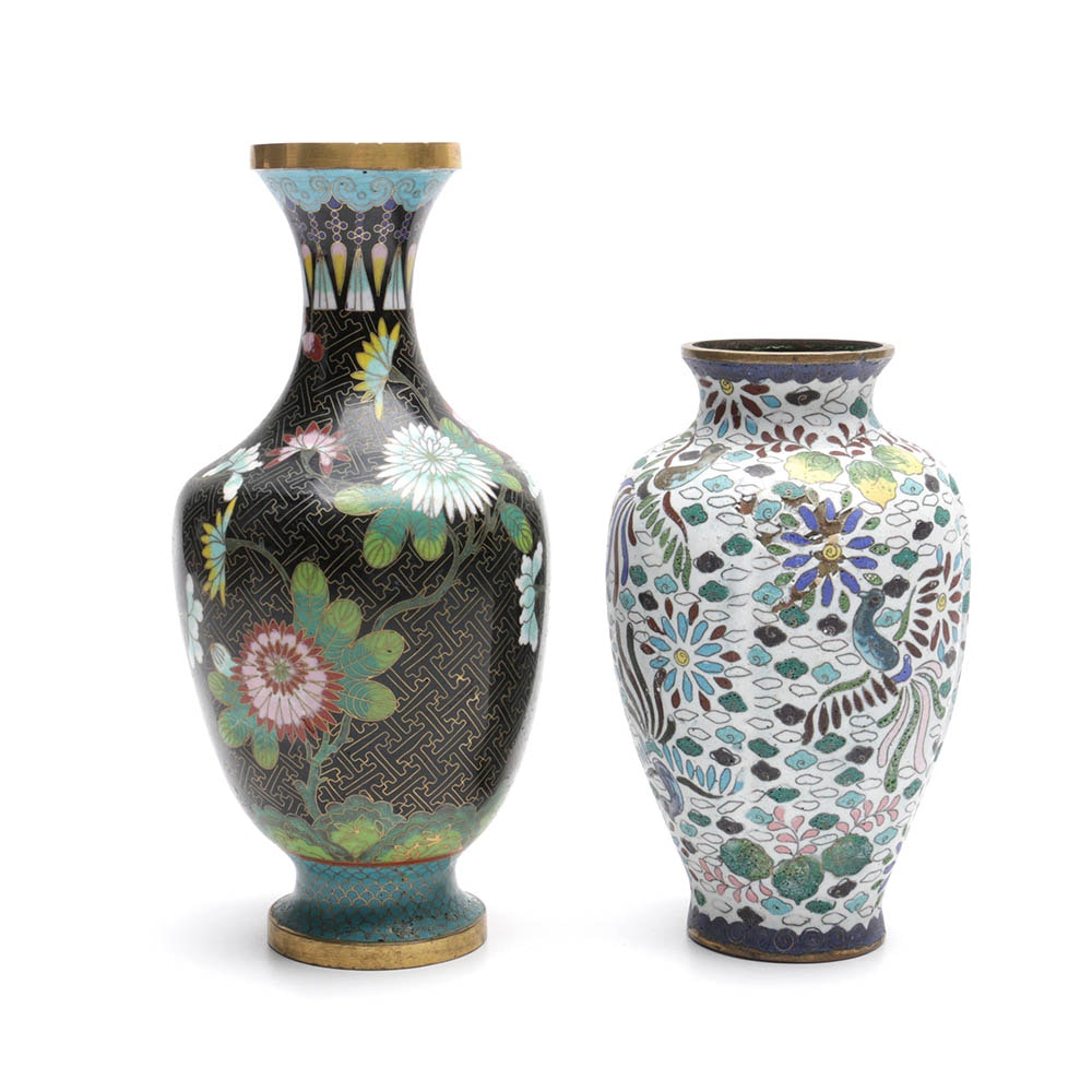 Chinese Brass Cloisonne Vases