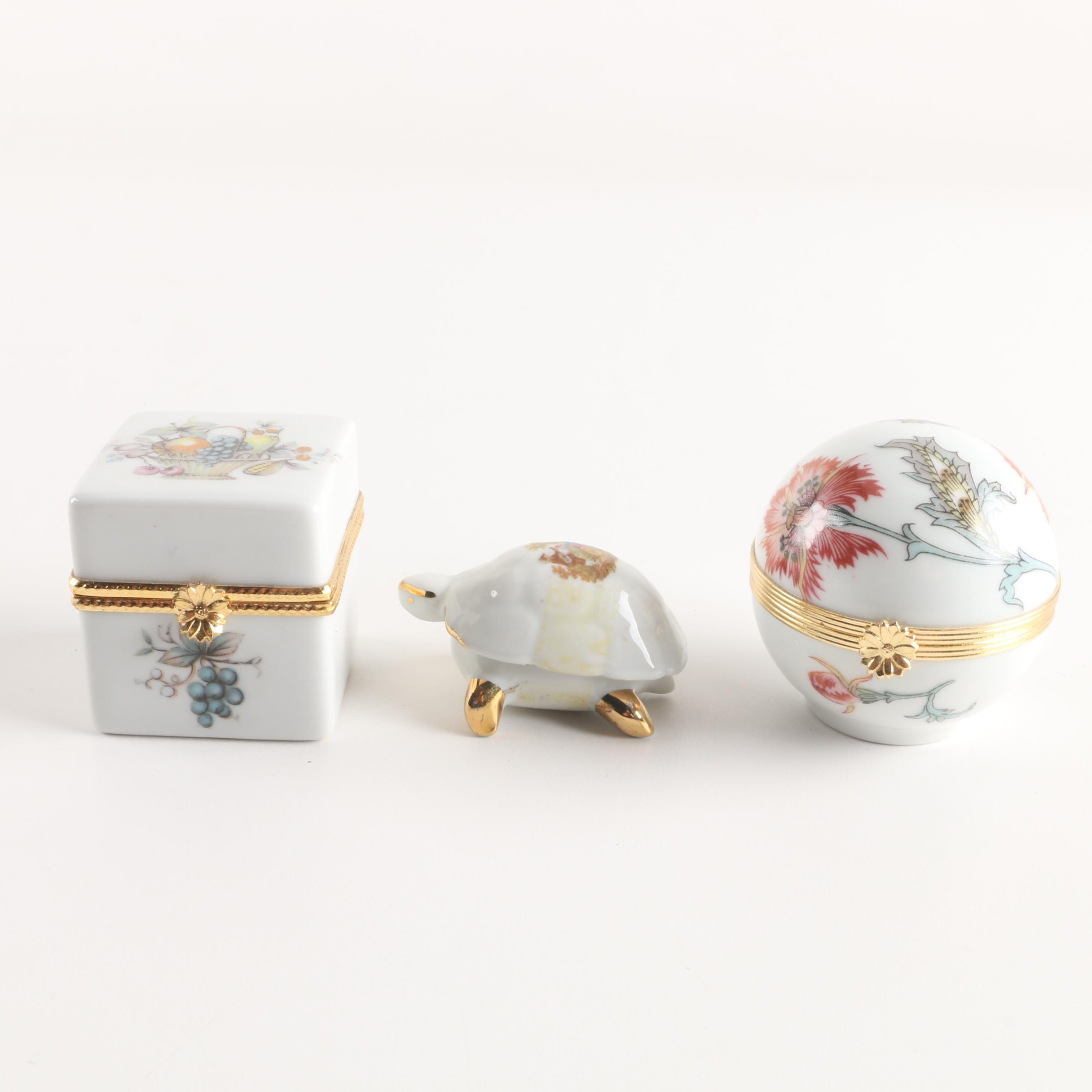 Limoges France Porcelain Turtle Trinket Box and Other French Boxes