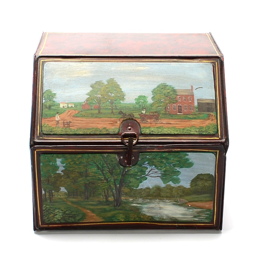 Antique Tin Pantry Box with Later Paint