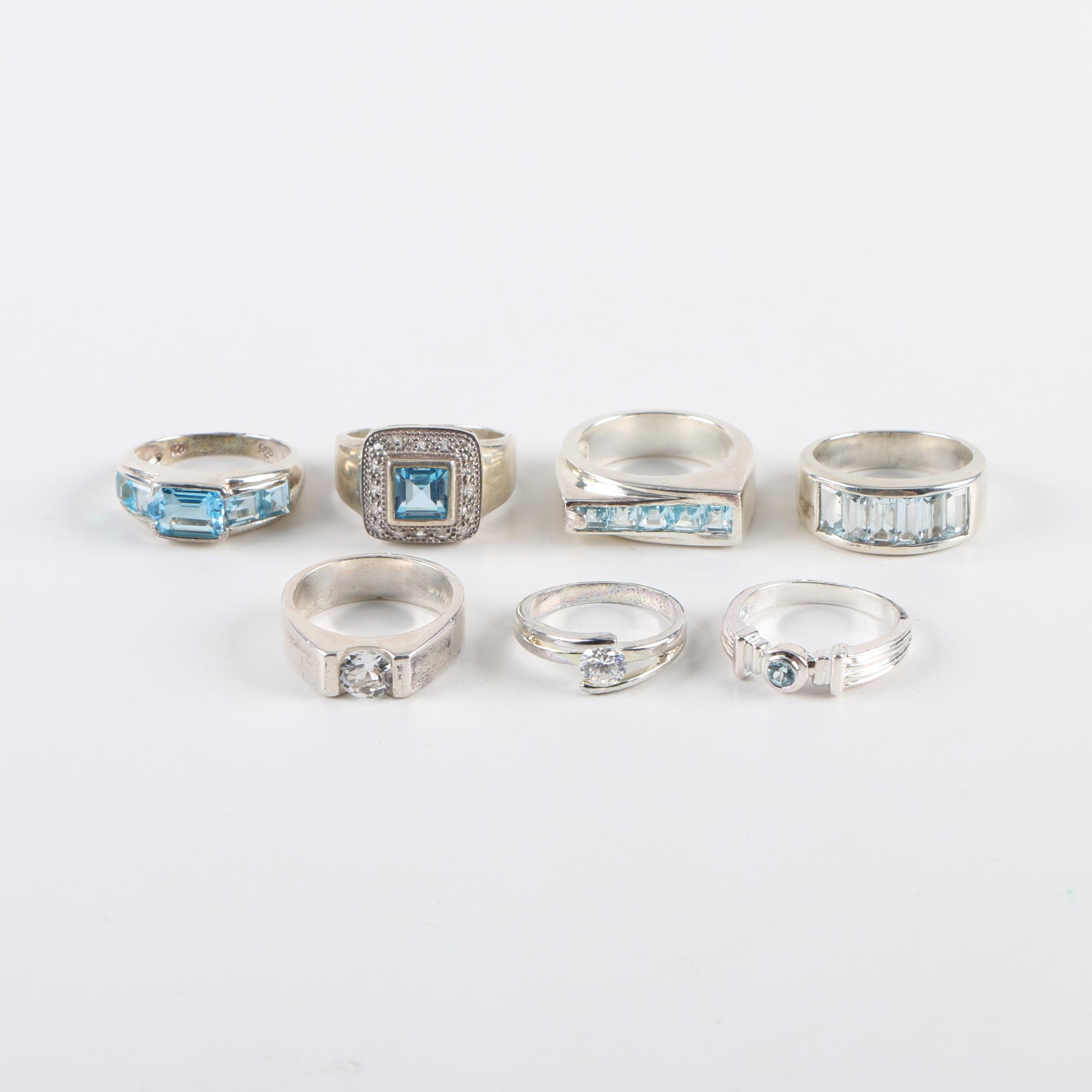 Sterling Silver Ring Selection Including Blue and White Topaz