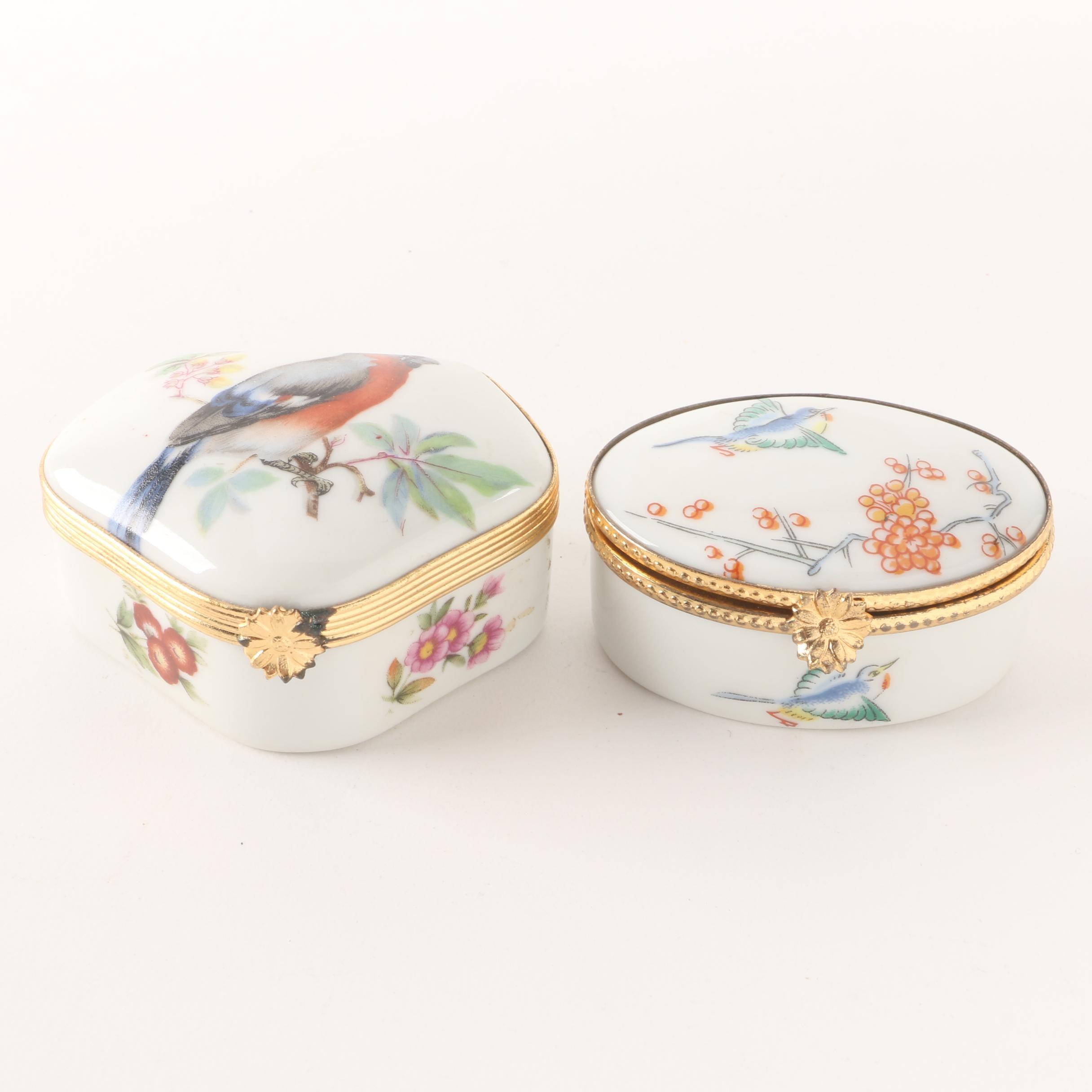 Limoges Bird Motif Porcelain Trinket Boxes