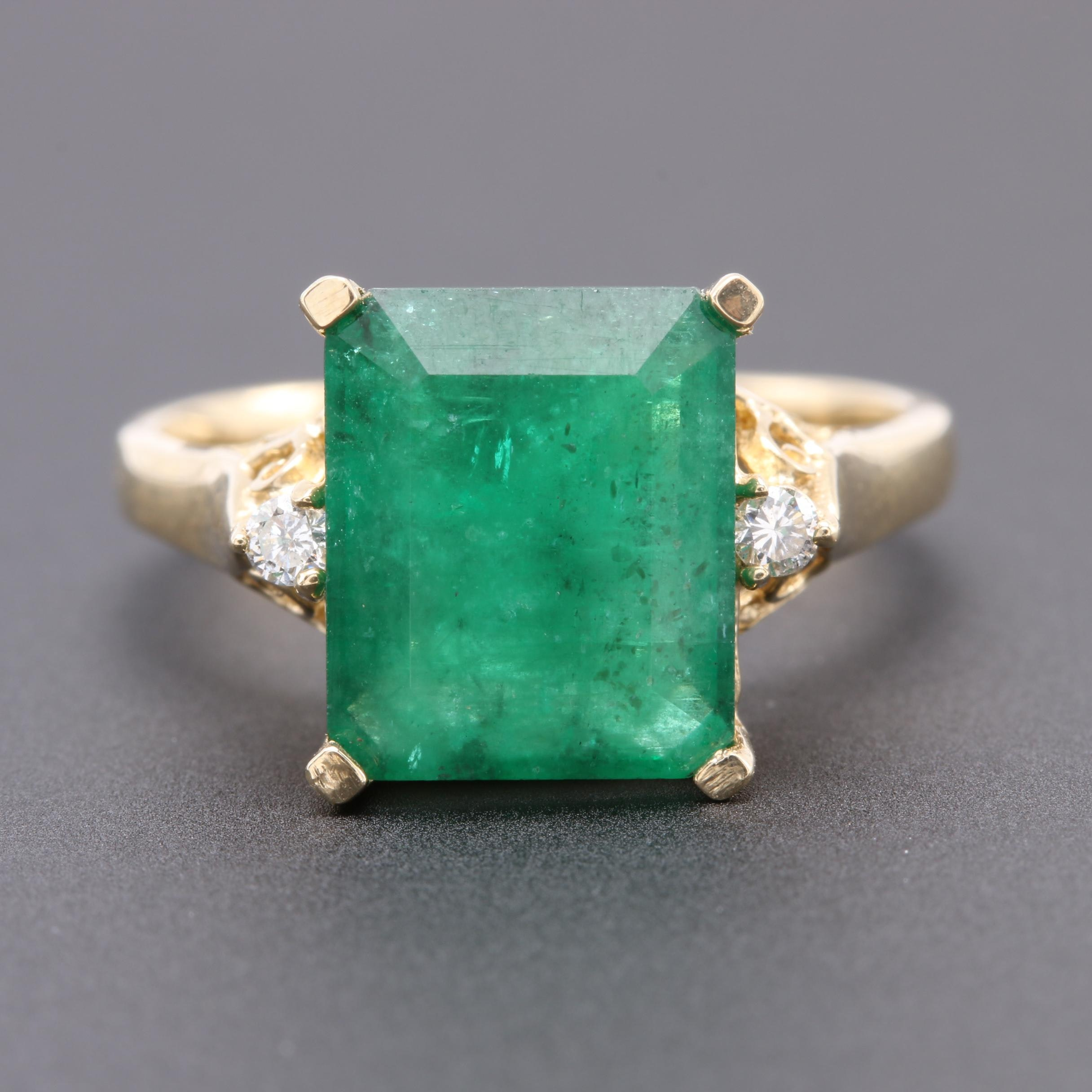 14K Yellow Gold 2.92 CT Emerald and Diamond Ring