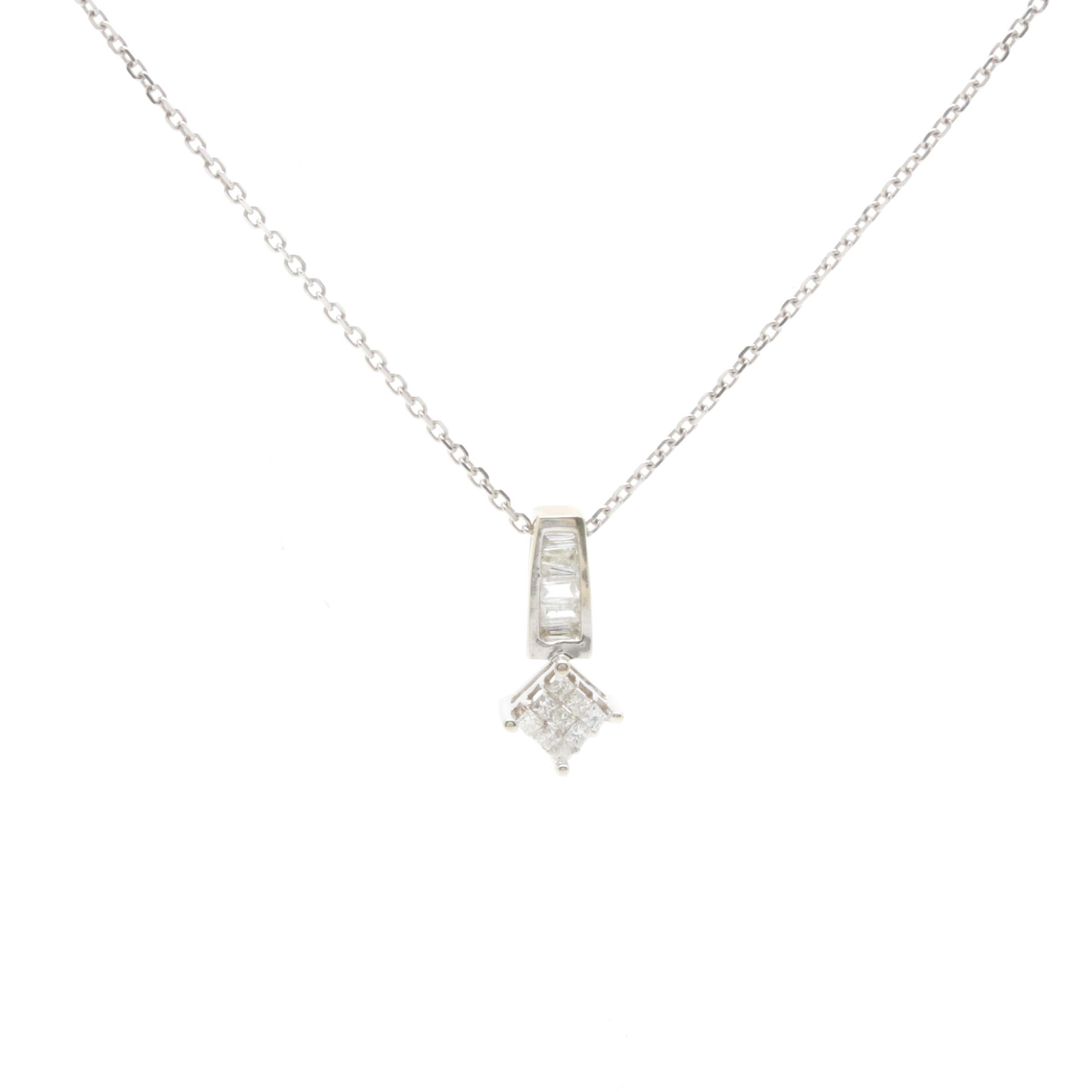 10K White Gold Diamond Pendant on 14K Gold Chain Necklace