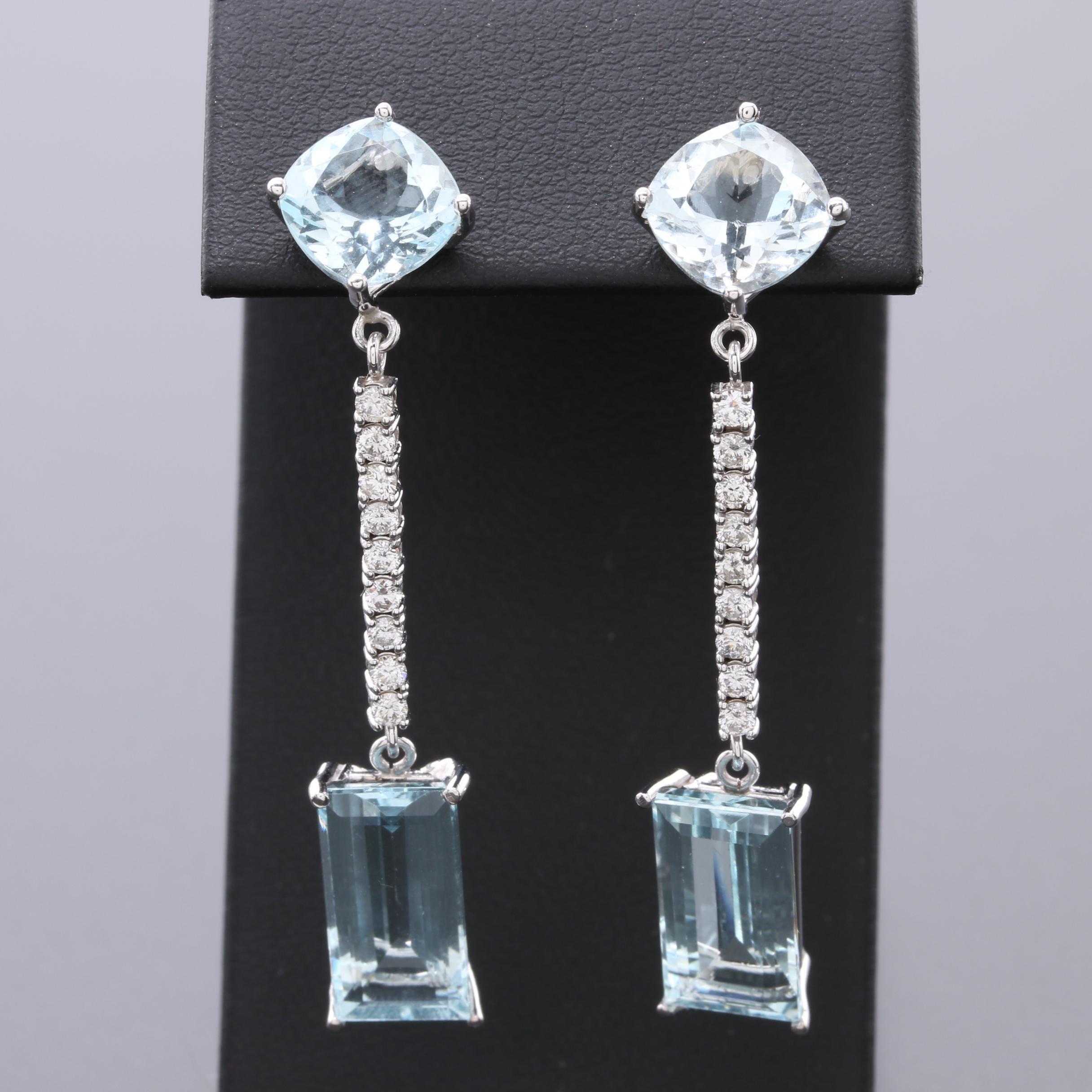 14K White Gold 12.56 CTW Aquamarine and Diamond Earrings