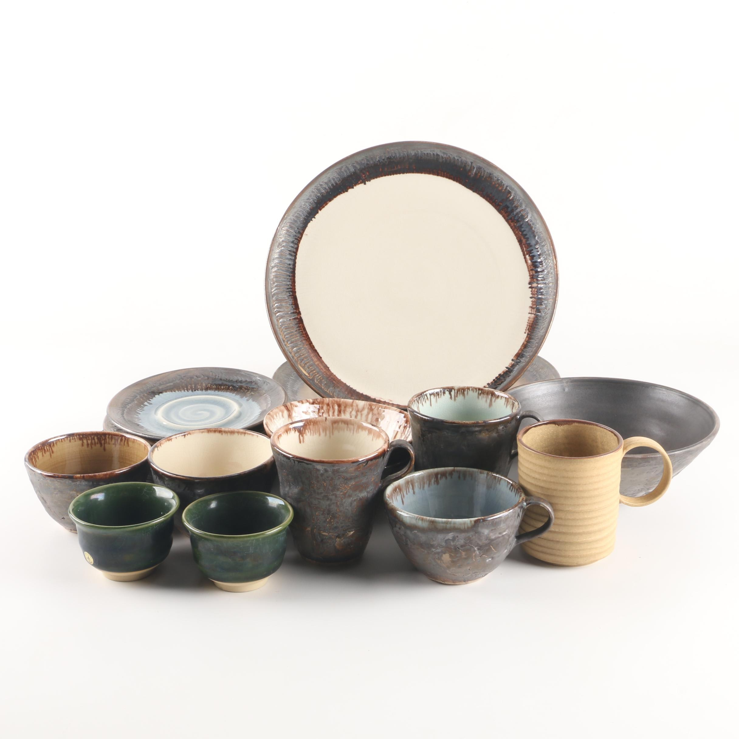 Wheel Thrown Stoneware Tableware and Cups Including Kotobuki