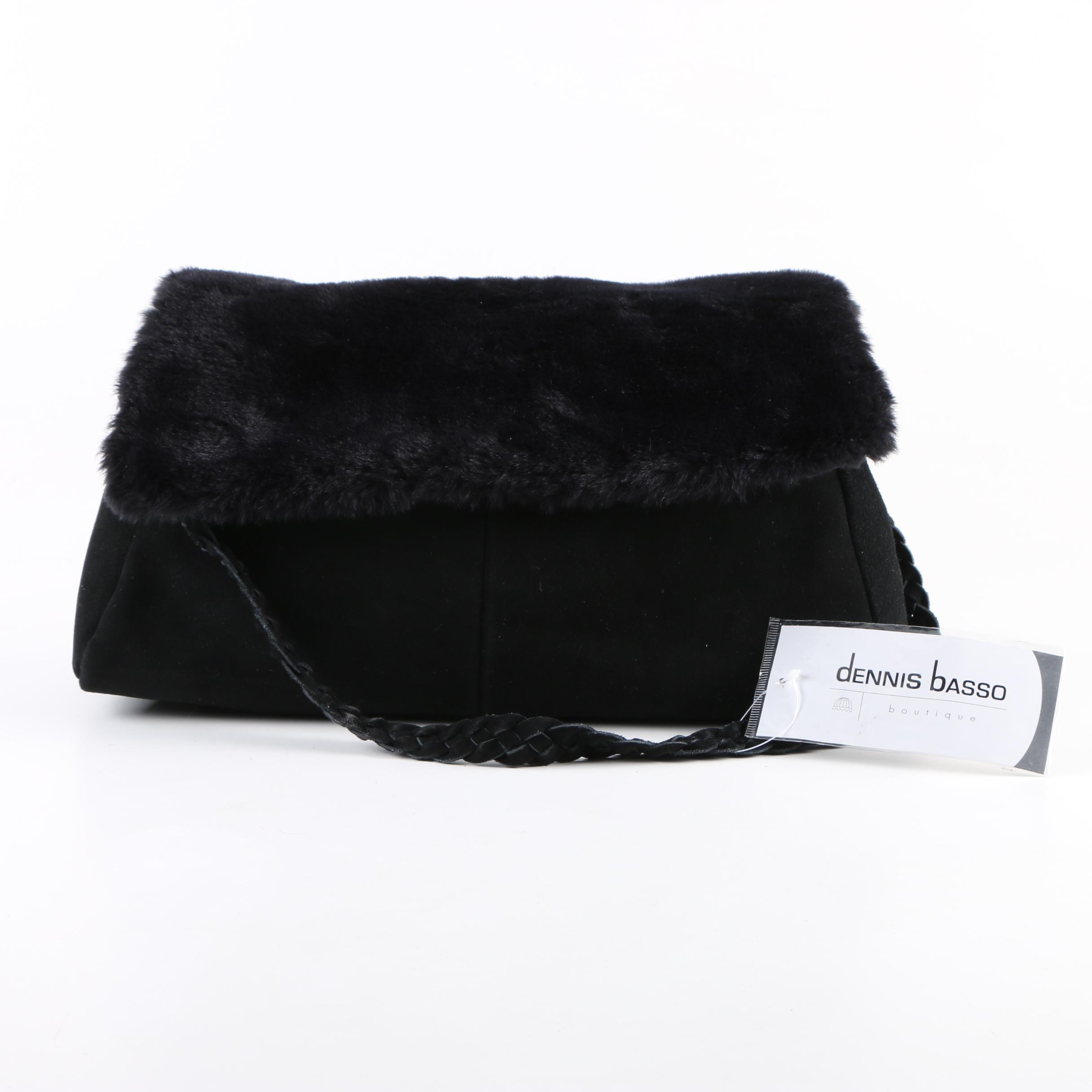 Dennis Basso Boutique Black Suede Shoulder Bag with Faux Fur Flap