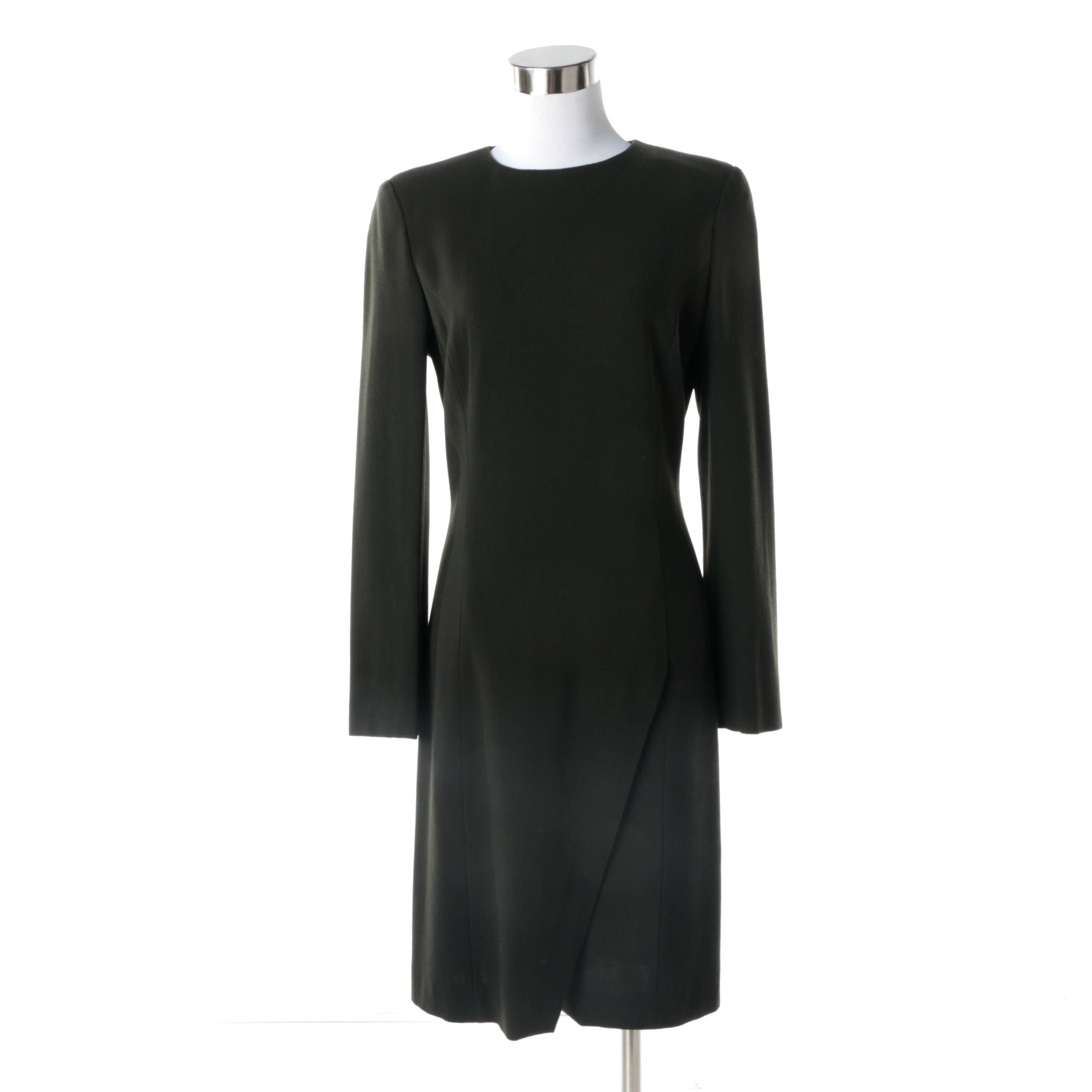 Women's Circa 1990s Giorgio Armani Le Collezioni Espresso Brown Wool Shift Dress
