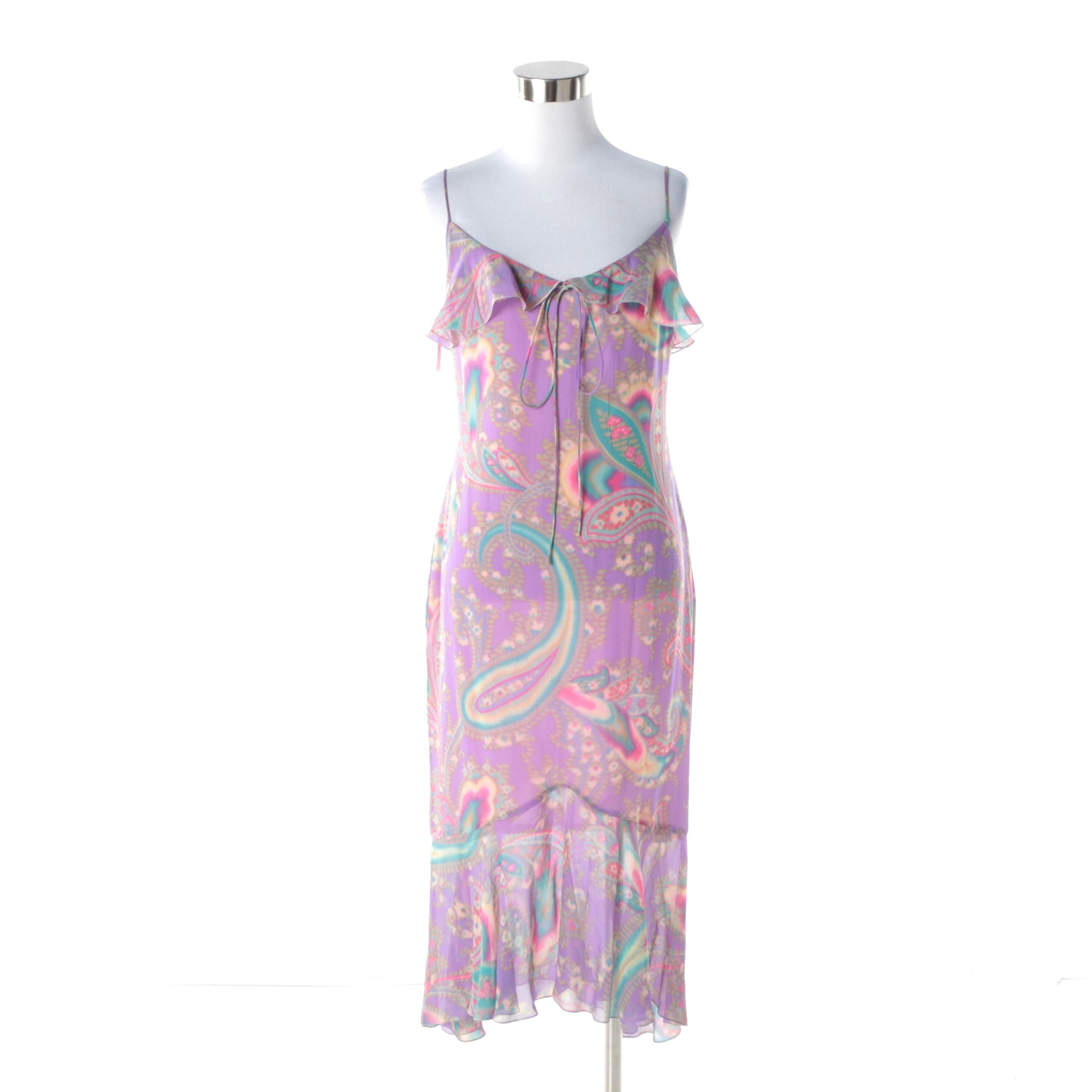 Women's Circa 1990s Emanuel Ungaro Lavender Paisley Print Midi Dress