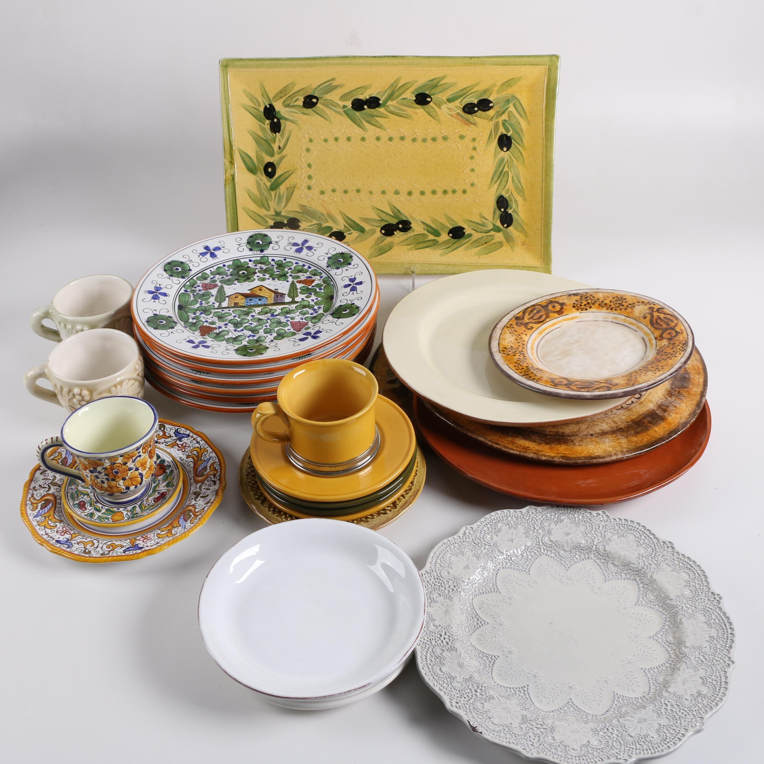 Italian Ceramic Tableware Including Hand-painted Grazia Deruta
