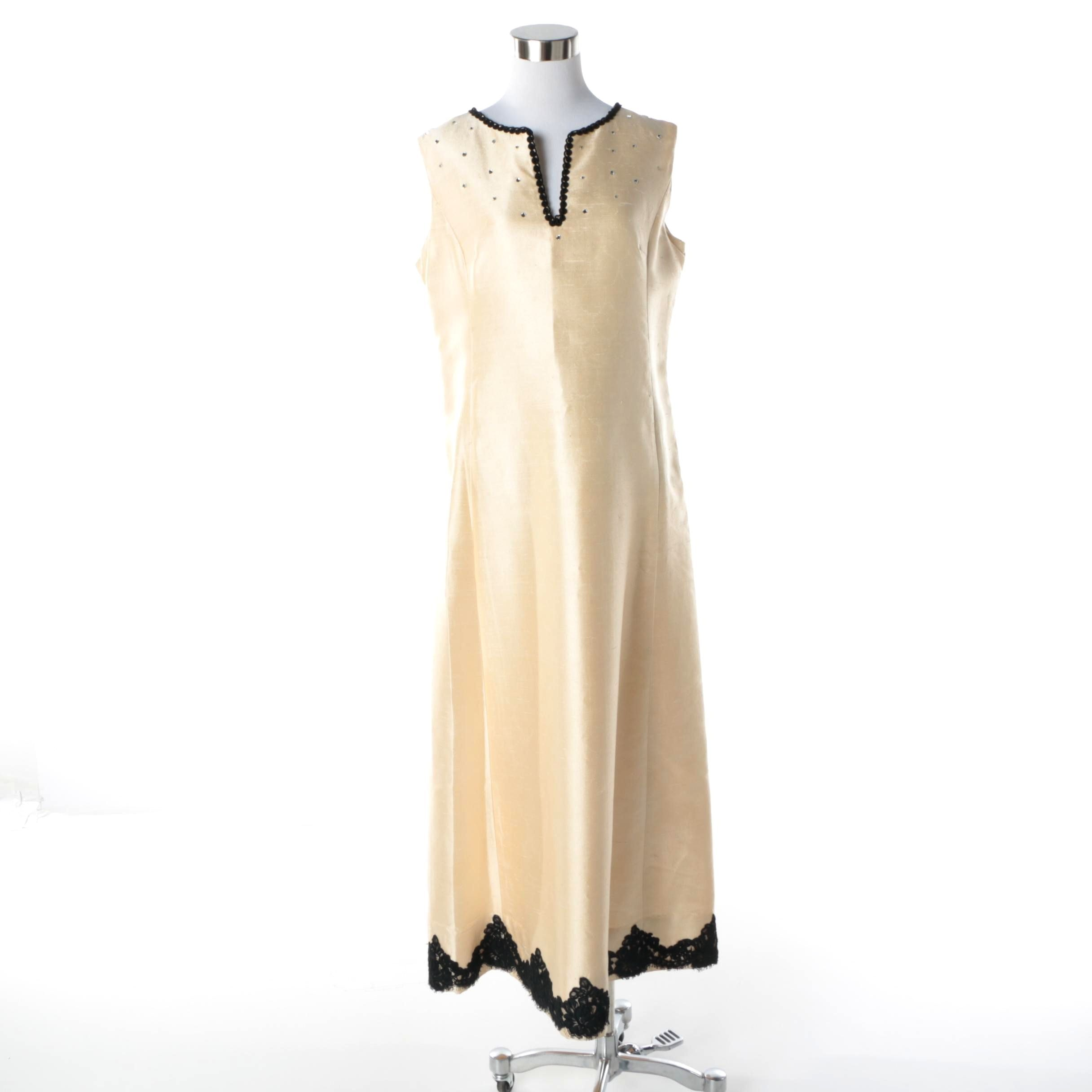 1960s Gino Charles Cream Raw Silk Sleeveless Dress