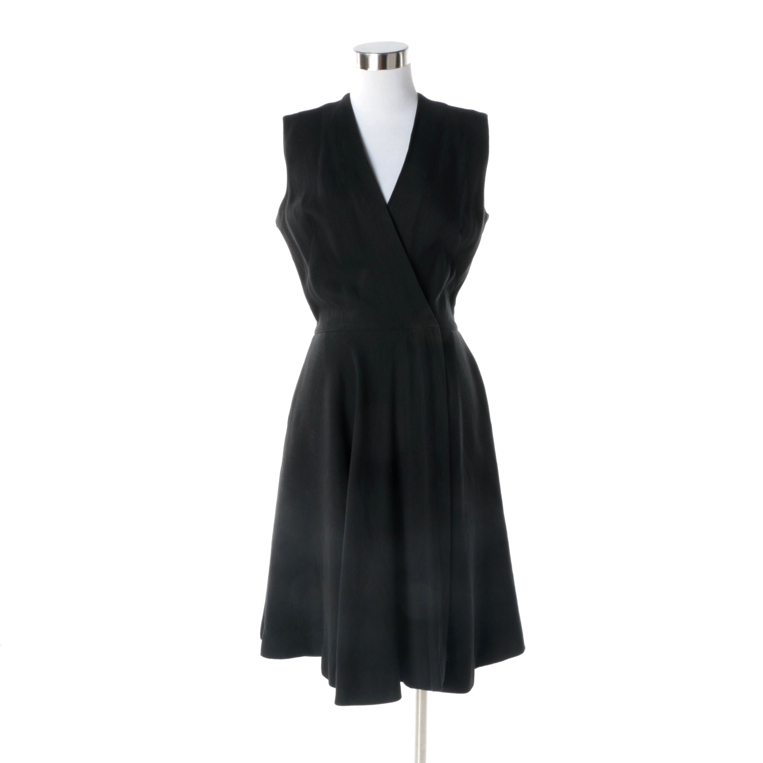 Women's Circa 1970s Vintage Anne Fogarty Black Rib Knit Sleeveless Dress