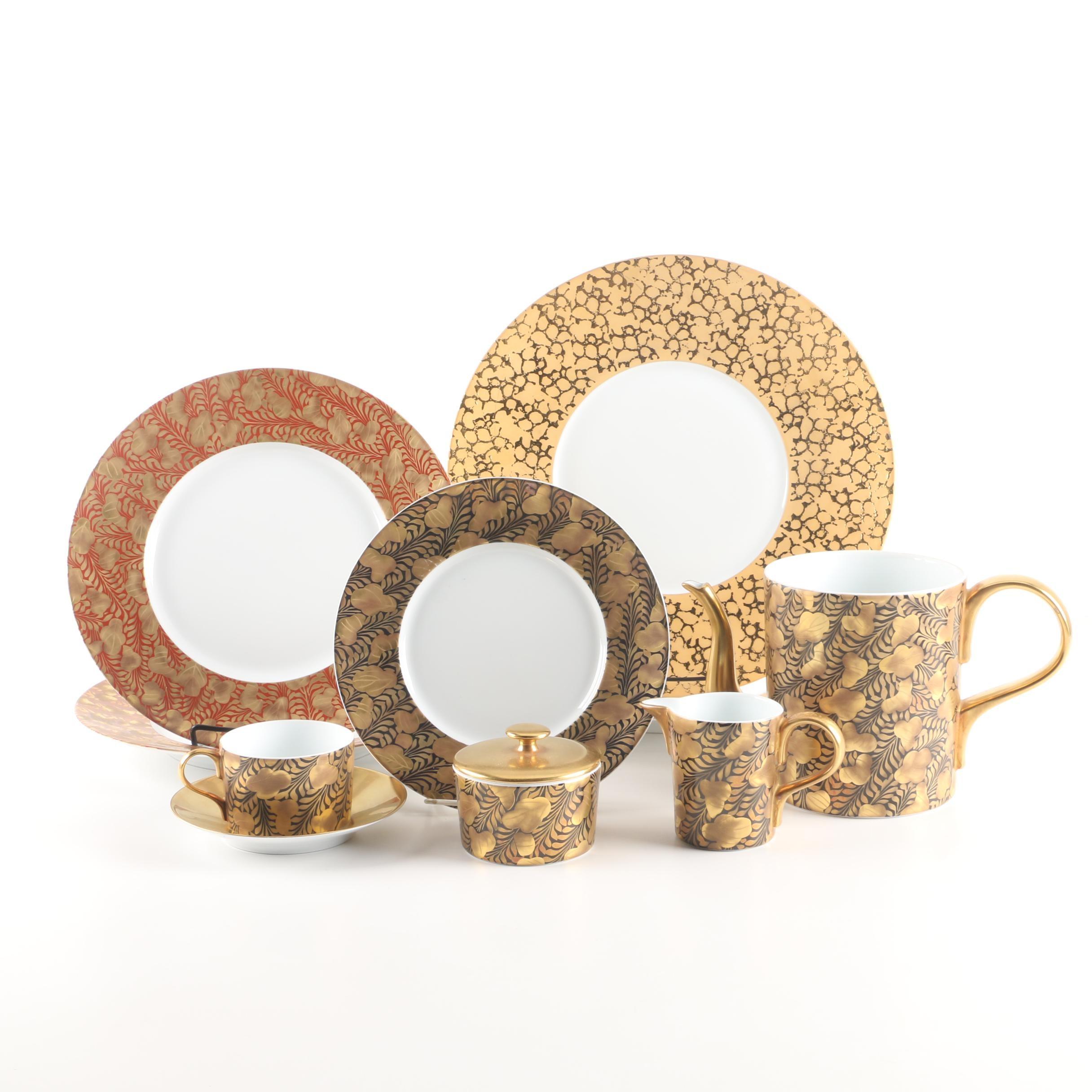 """J.L. Coquet """"Trois Ors"""" and """"Horizon Horus"""" Limoges Porcelain Tableware"""