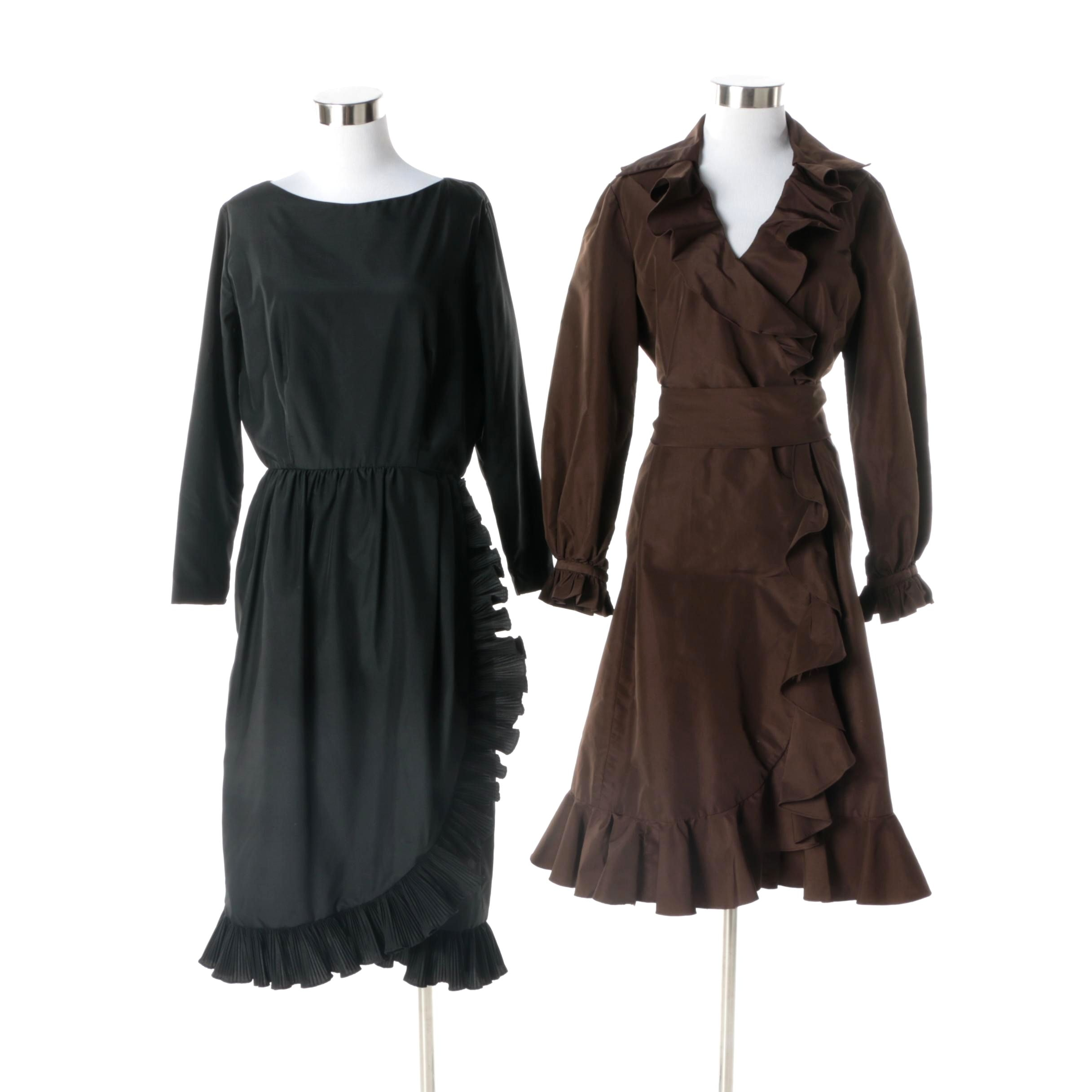 1980s Vintage Victor Costa Black Ruffle Hem Dress and Brown Cocktail Dress