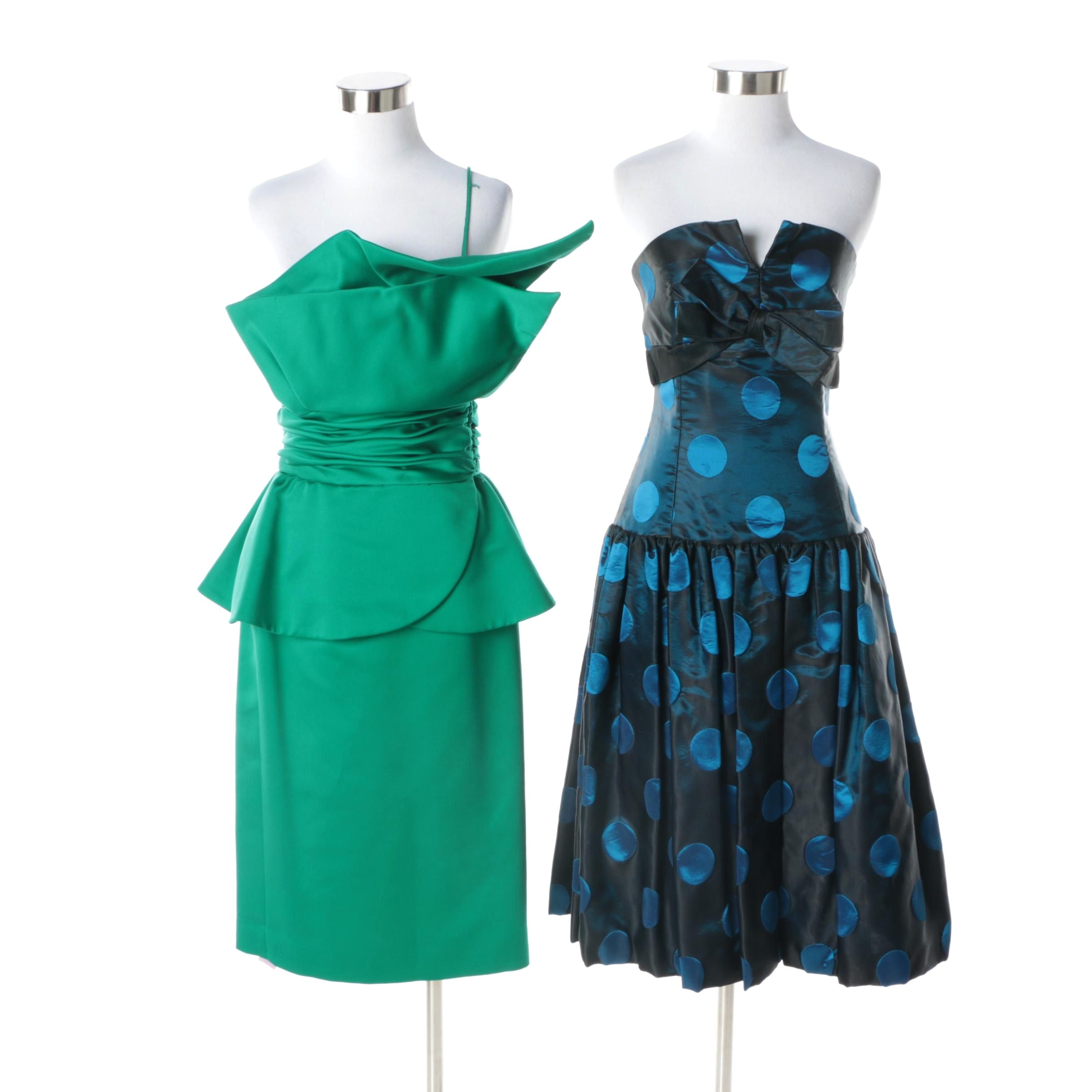 1980s Vintage Victor Costa Green Peplum and Strapless Blue Cocktail Dresses
