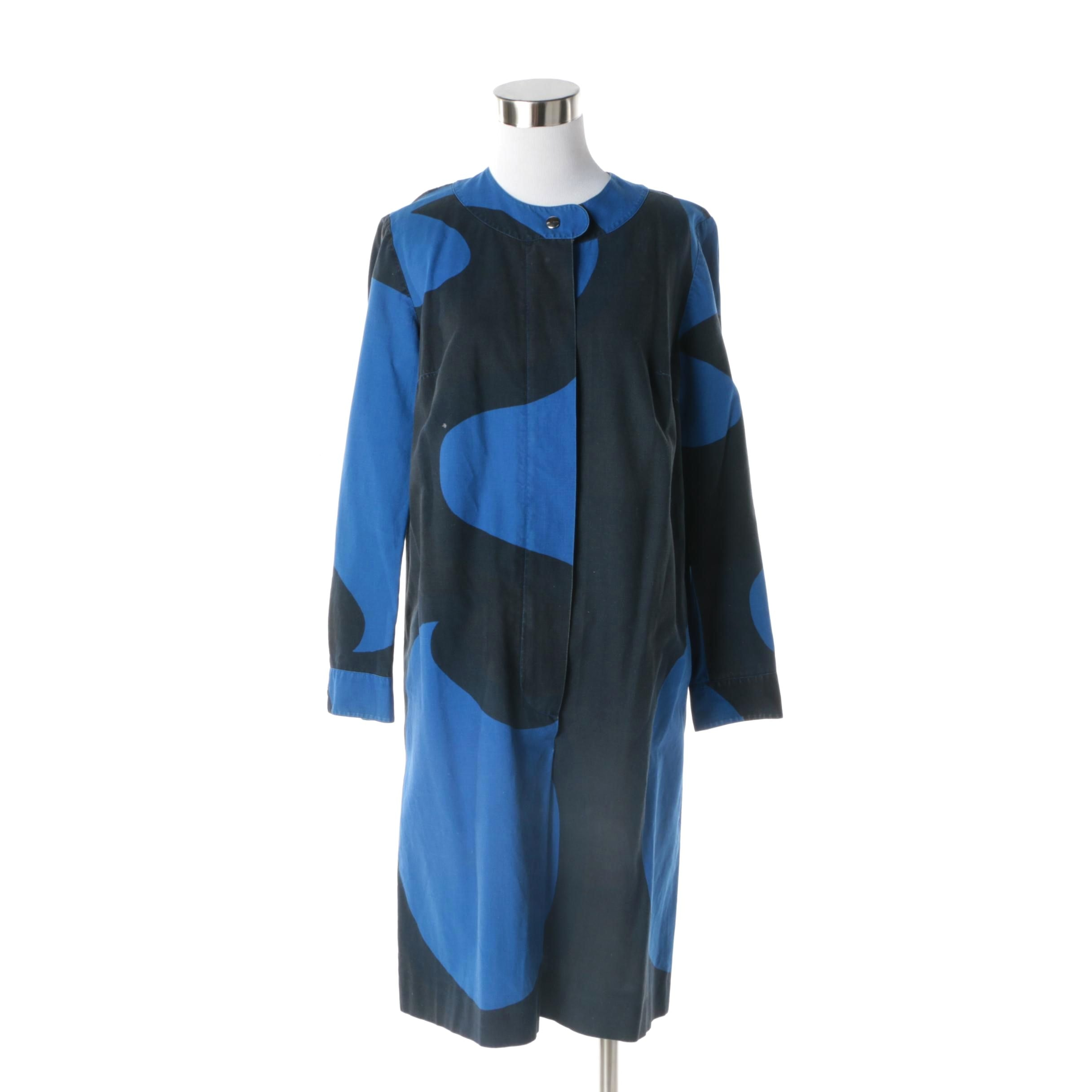 Women's 1967 Vintage Marimekko of Finland Black and Blue Cotton Dress