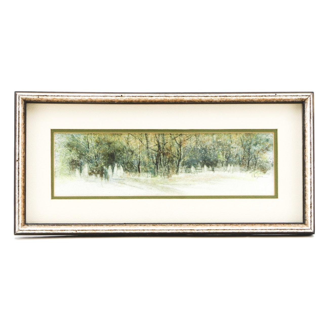 """Dotti Cyphers Original Watercolor Landscape on Paper """"The Park"""""""