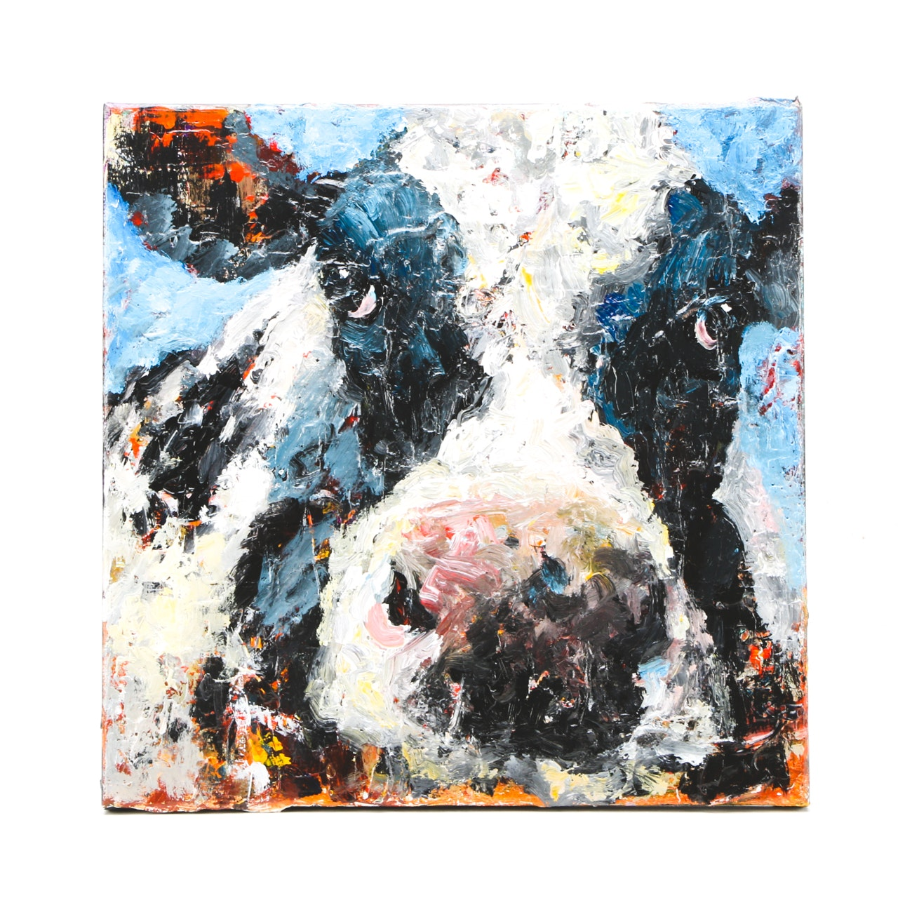 Elle Raines Acrylic Painting on Canvas of a Cow