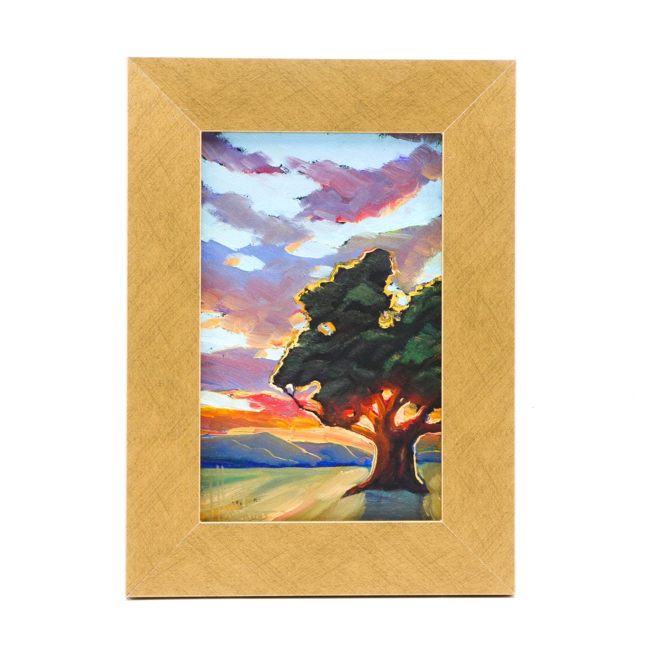 William Hawkins Oil Painting on Canvas Board of a Tree