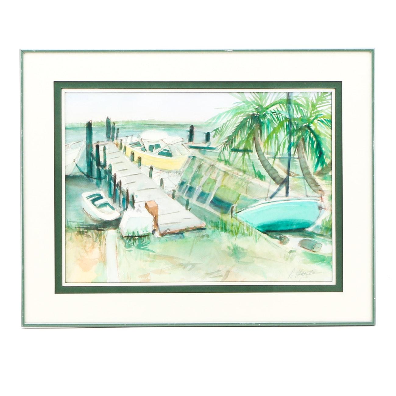 R. Hyde Original Watercolor Painting of Beachside Dock