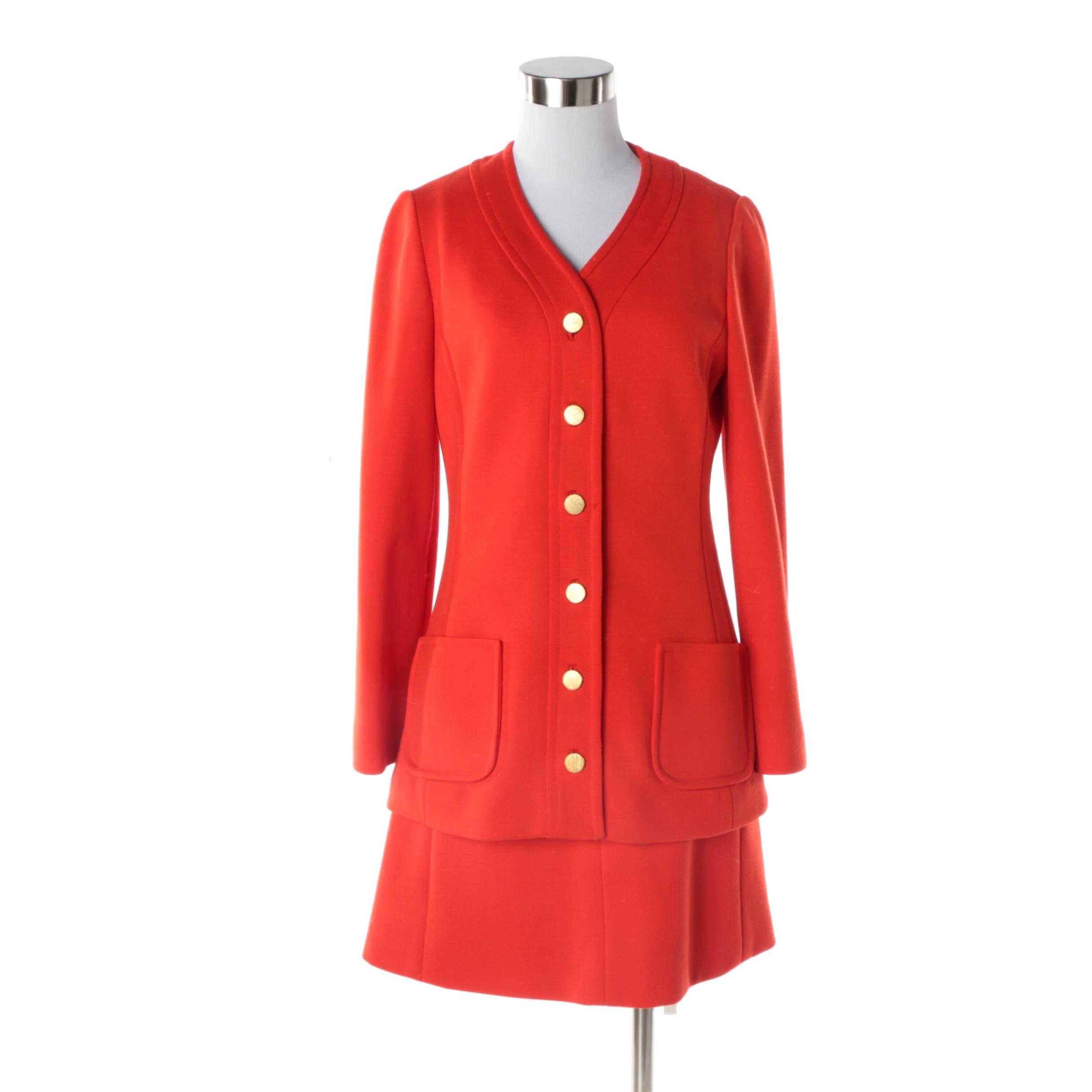 Women's Circa 1960s Vintage Jean Louis and Dalton Red Wool Dress Suit
