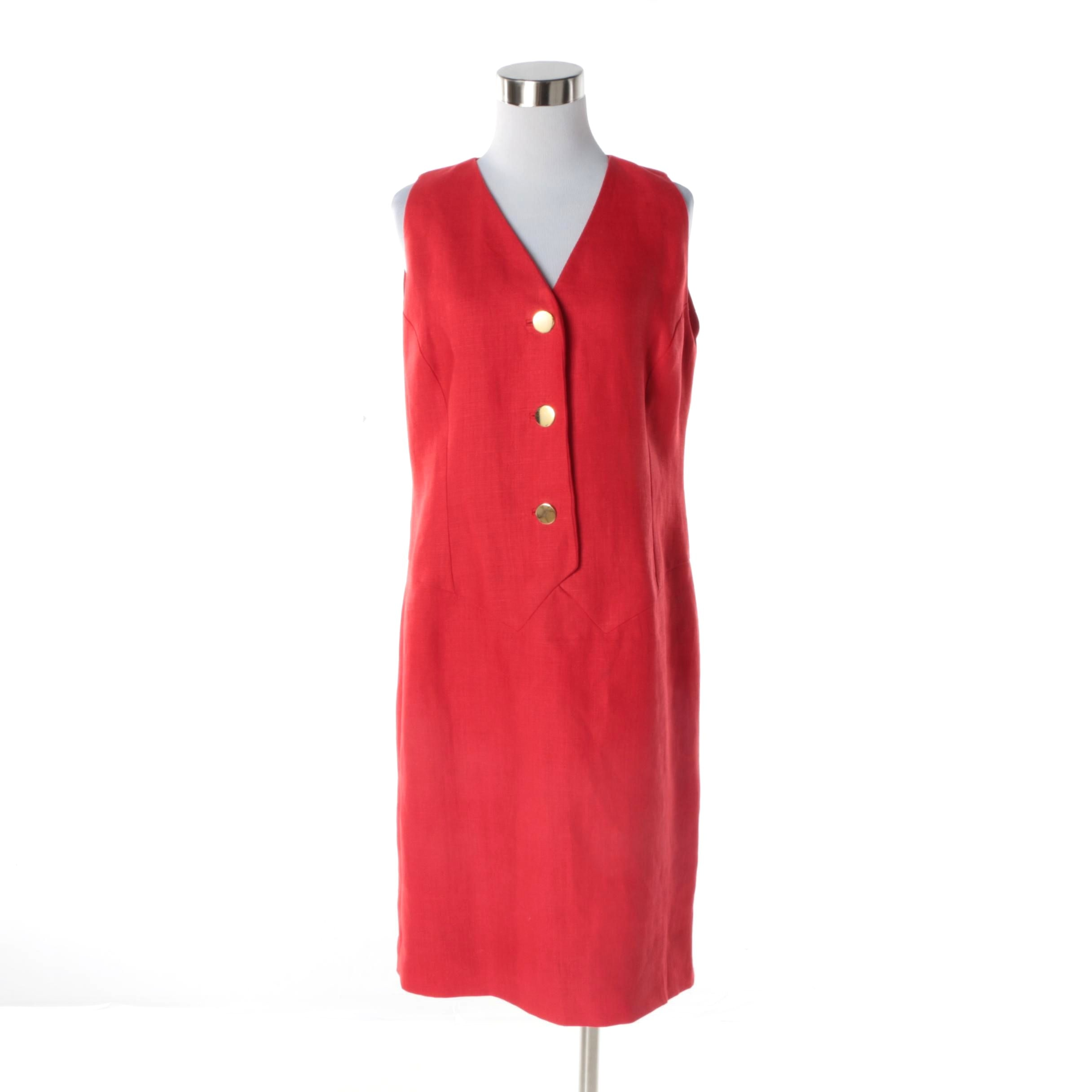 Women's Circa 1980s Vintage Bill Blass Red Linen Sleeveless Dress