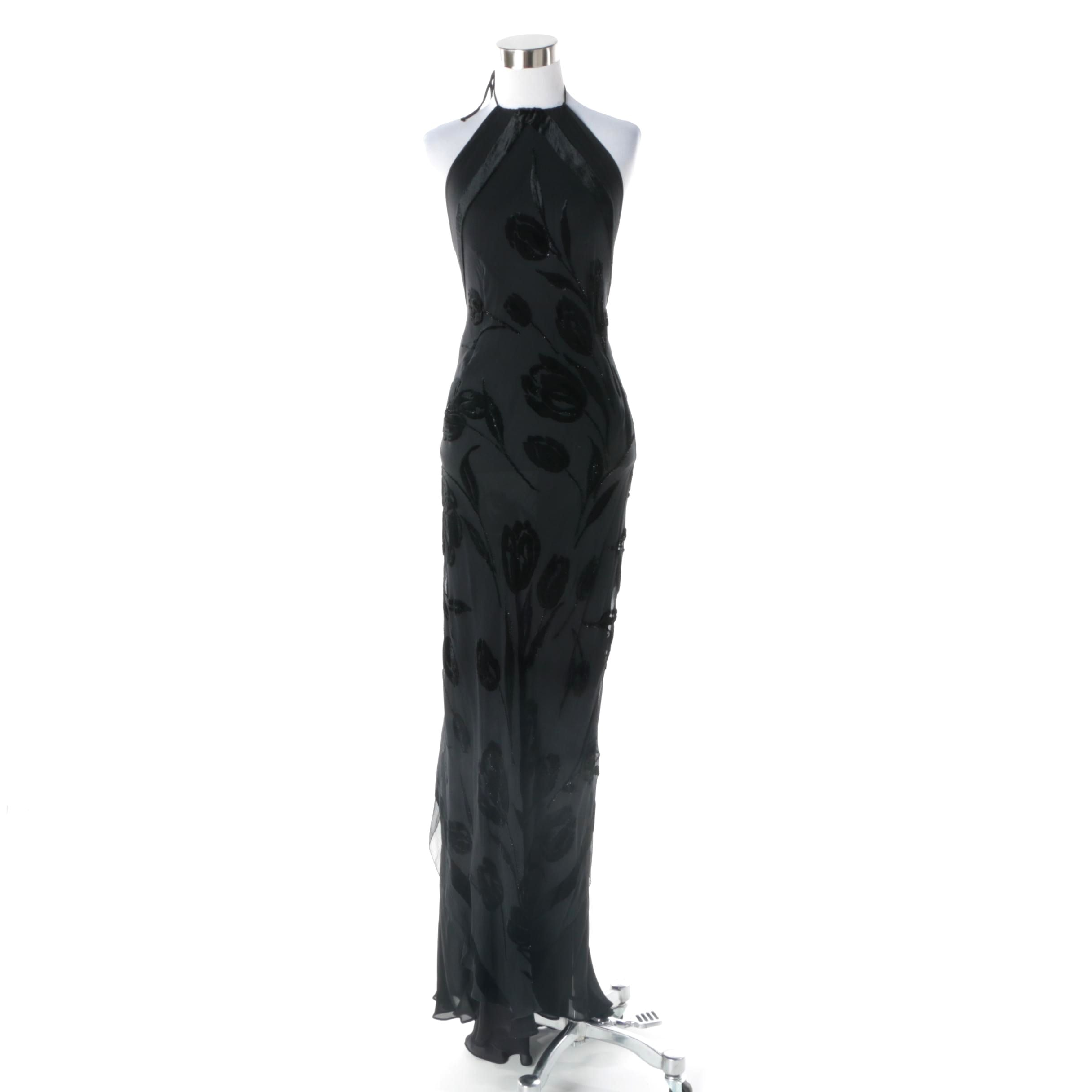 Custom Silk and Burnout Velvet Backless Evening Gown with Retractable Train