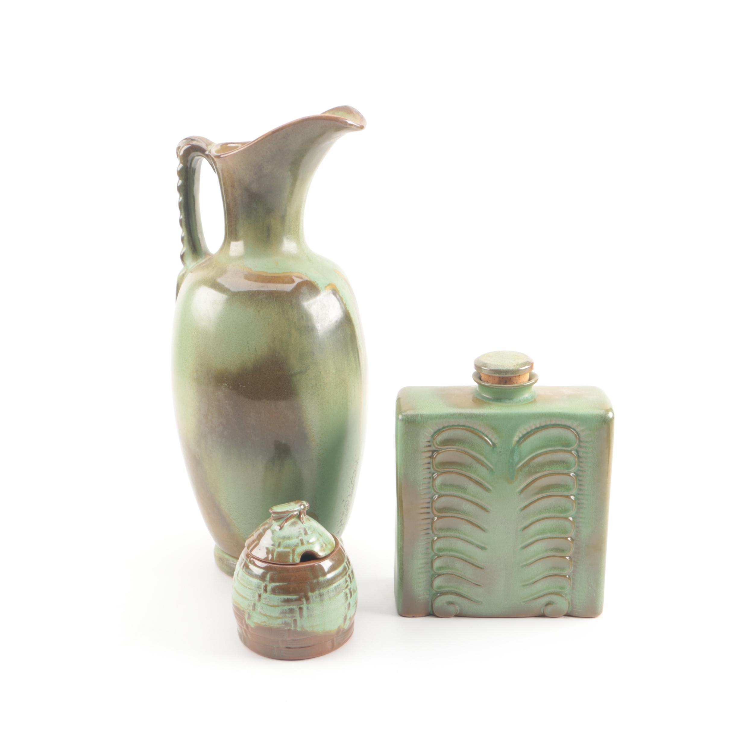 Frankoma Pottery Pitcher, Decanter and Honey Pot