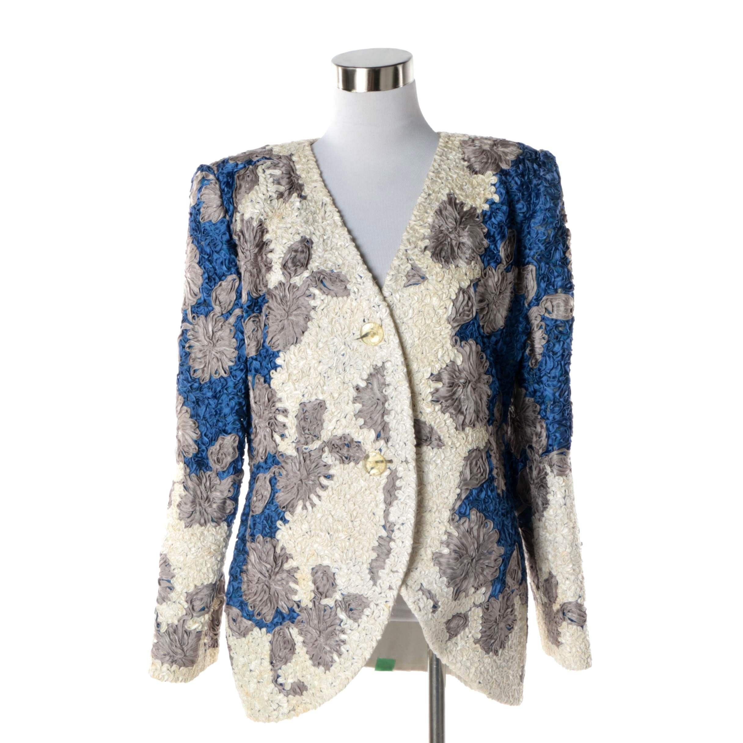 Women's Circa 1980s Vintage Galanos Blue, Grey and White Silk Jacket