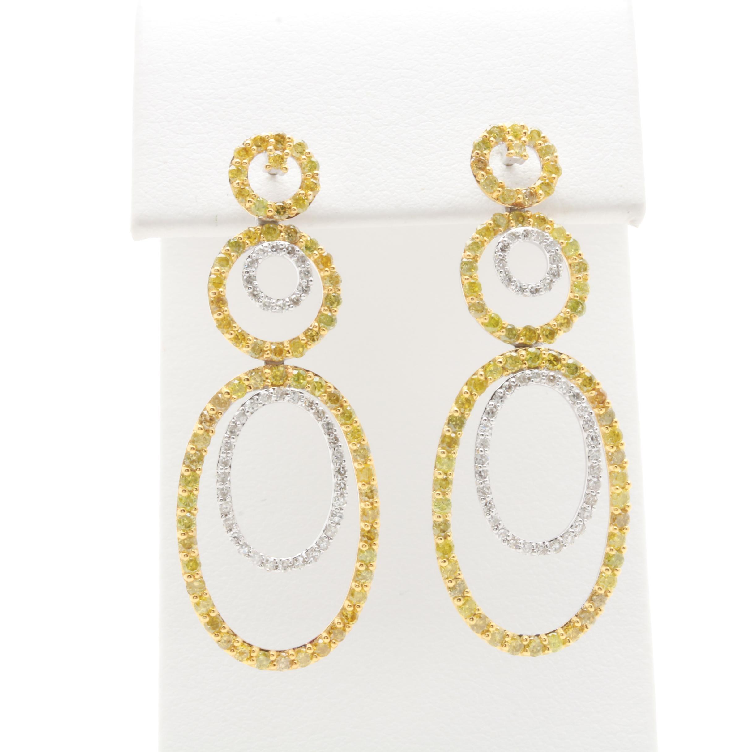14K White Gold 2.39 CTW Diamond Earrings