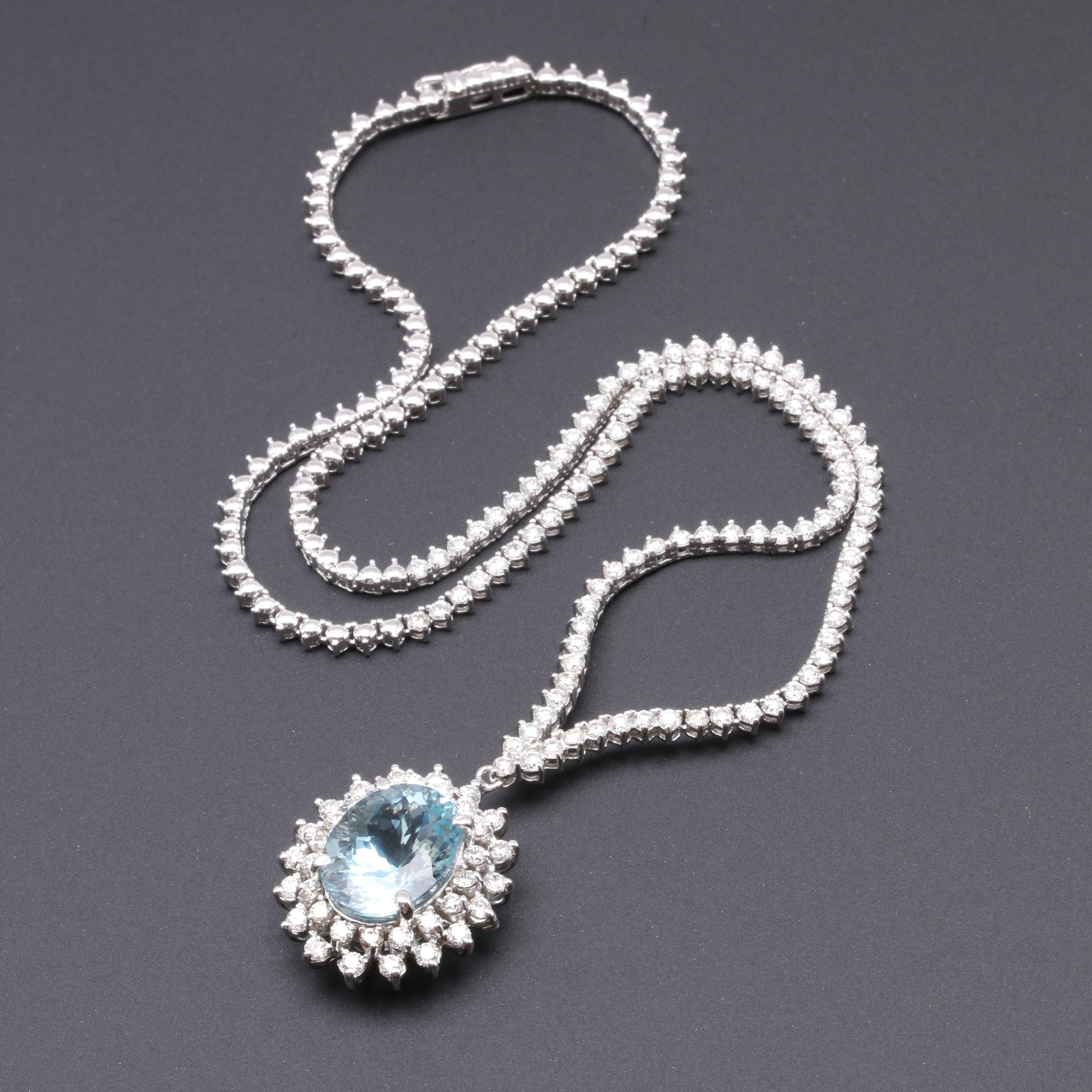 14K and 18K White Gold 7.64 CT Aquamarine and 4.00 CTW Diamond Necklace