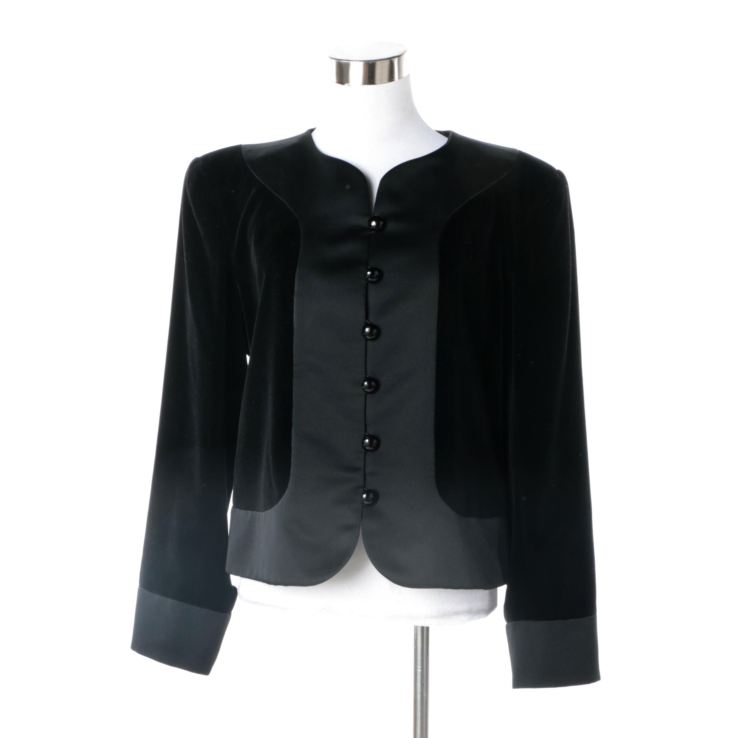 Women's Circa Early 1980s Vintage Saint Laurent Black Velveteen Jacket