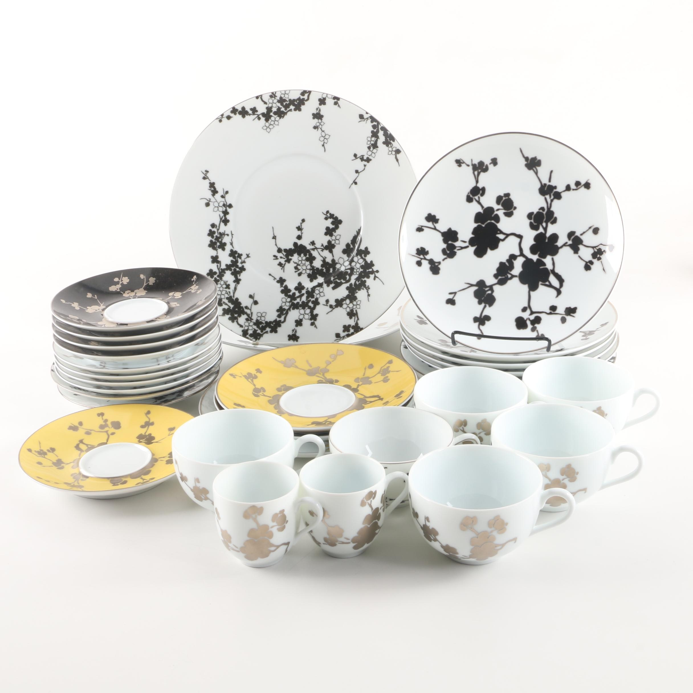 "Raynaud Limoges ""Ombrages"" and Jaune de Chrome ""Clematites"" Tableware"