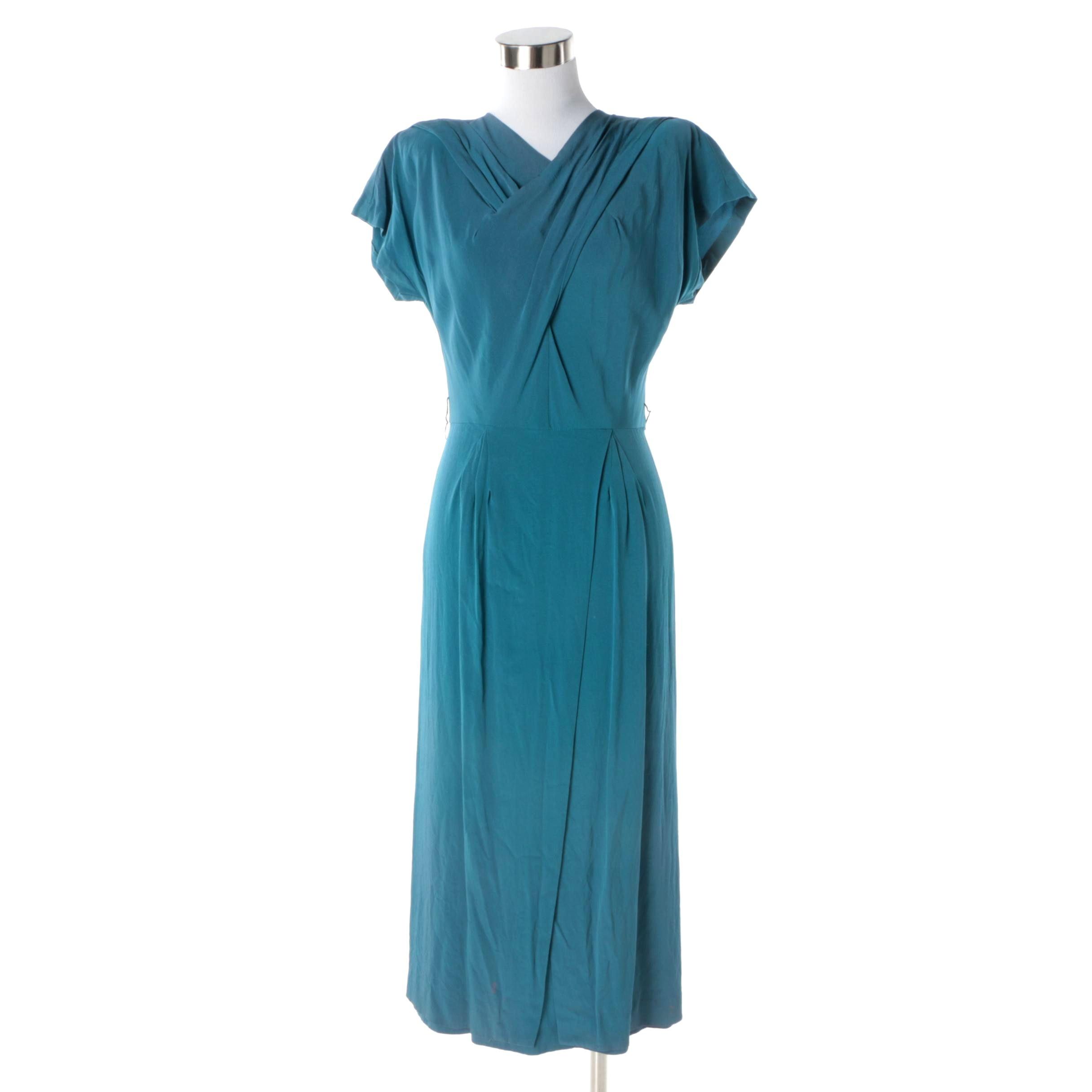 1930s Vintage Blue Ruched Day Dress