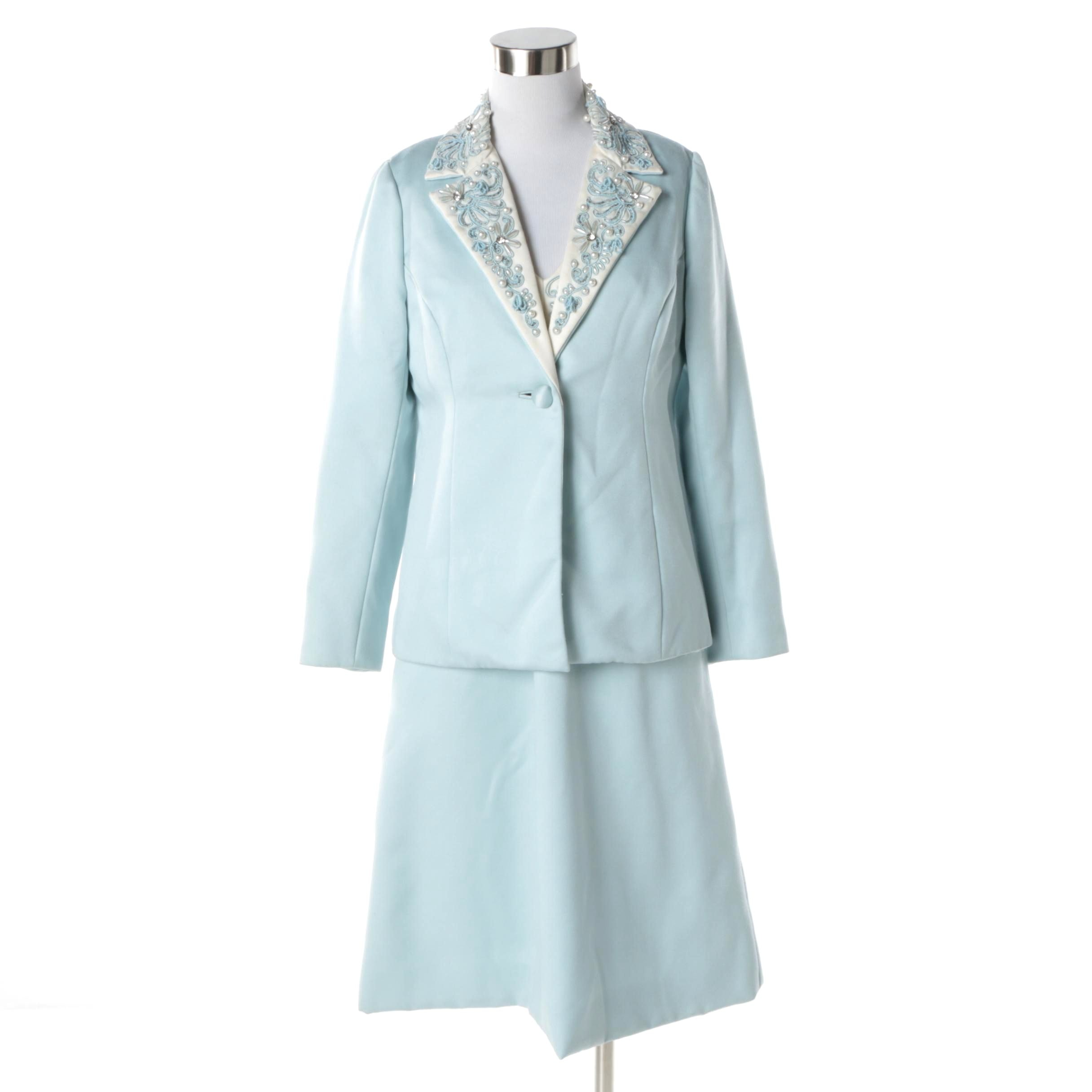 1960s Vintage Sky Blue Rhinestone Pearl Bead and Floral Sequin Dress with Jacket