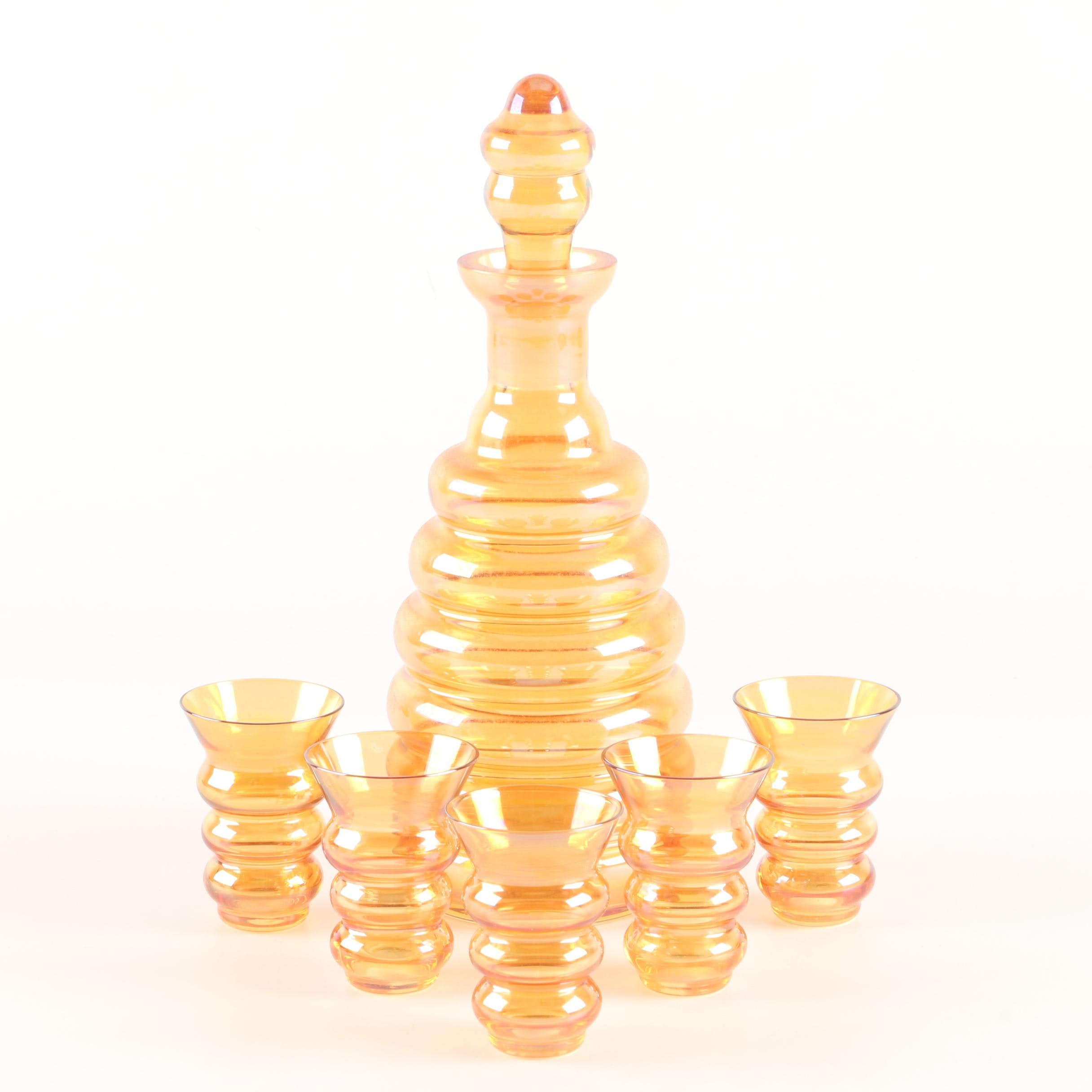 Mid Century Style Hand-Blown Beehive Decanter Glass Set
