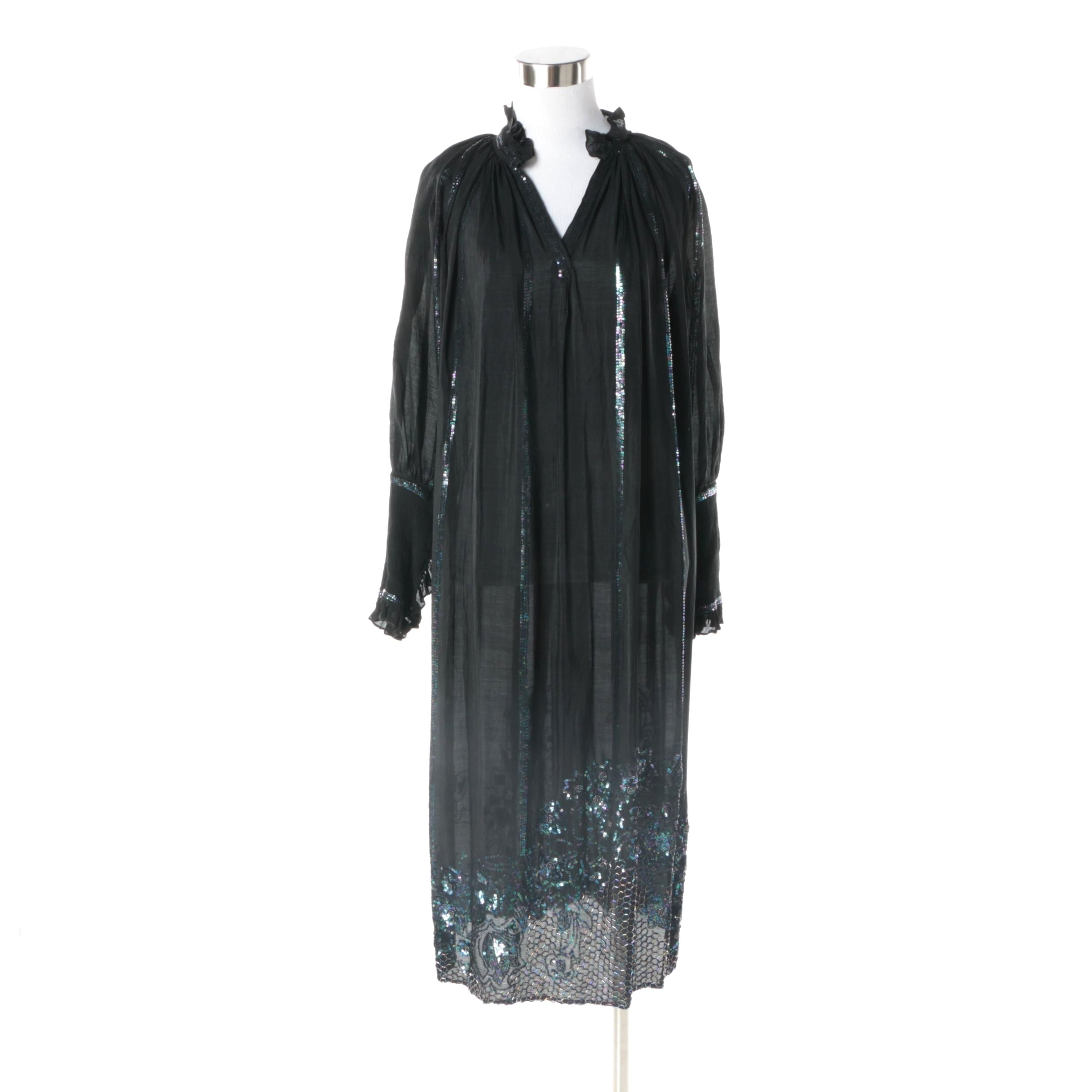 1980s Vintage Beaded Sheer Black Silk and Iridescent Floral Sequin Evening Dress