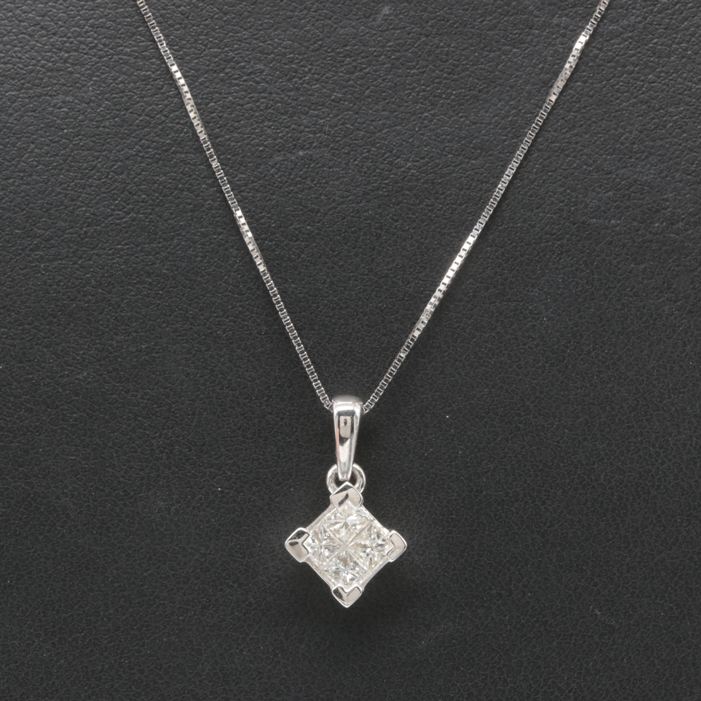 14K White Gold Diamond Pendant Necklace Including Aurafin